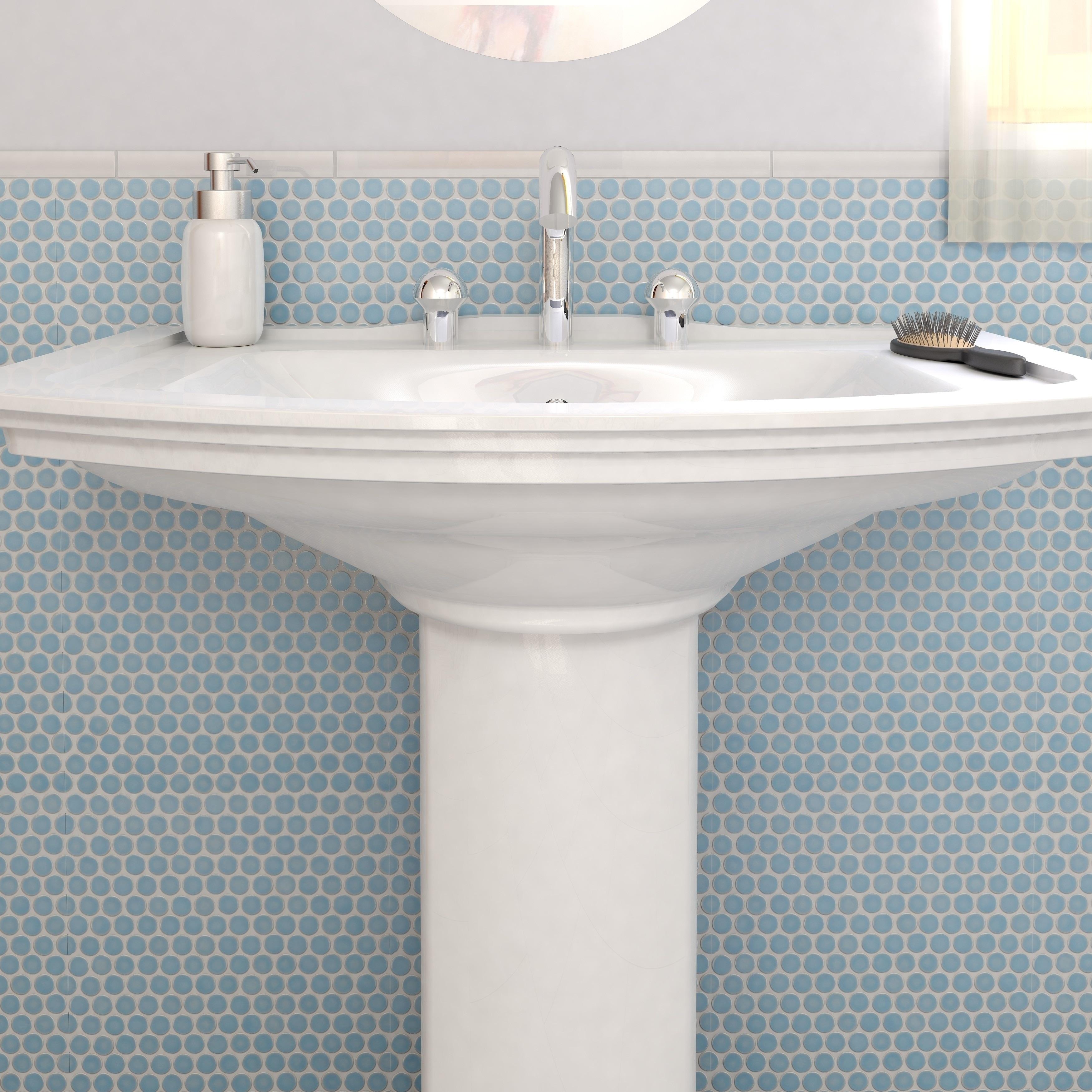Shop SomerTile 12x12.625-inch Penny Light Blue Porcelain Mosaic ...