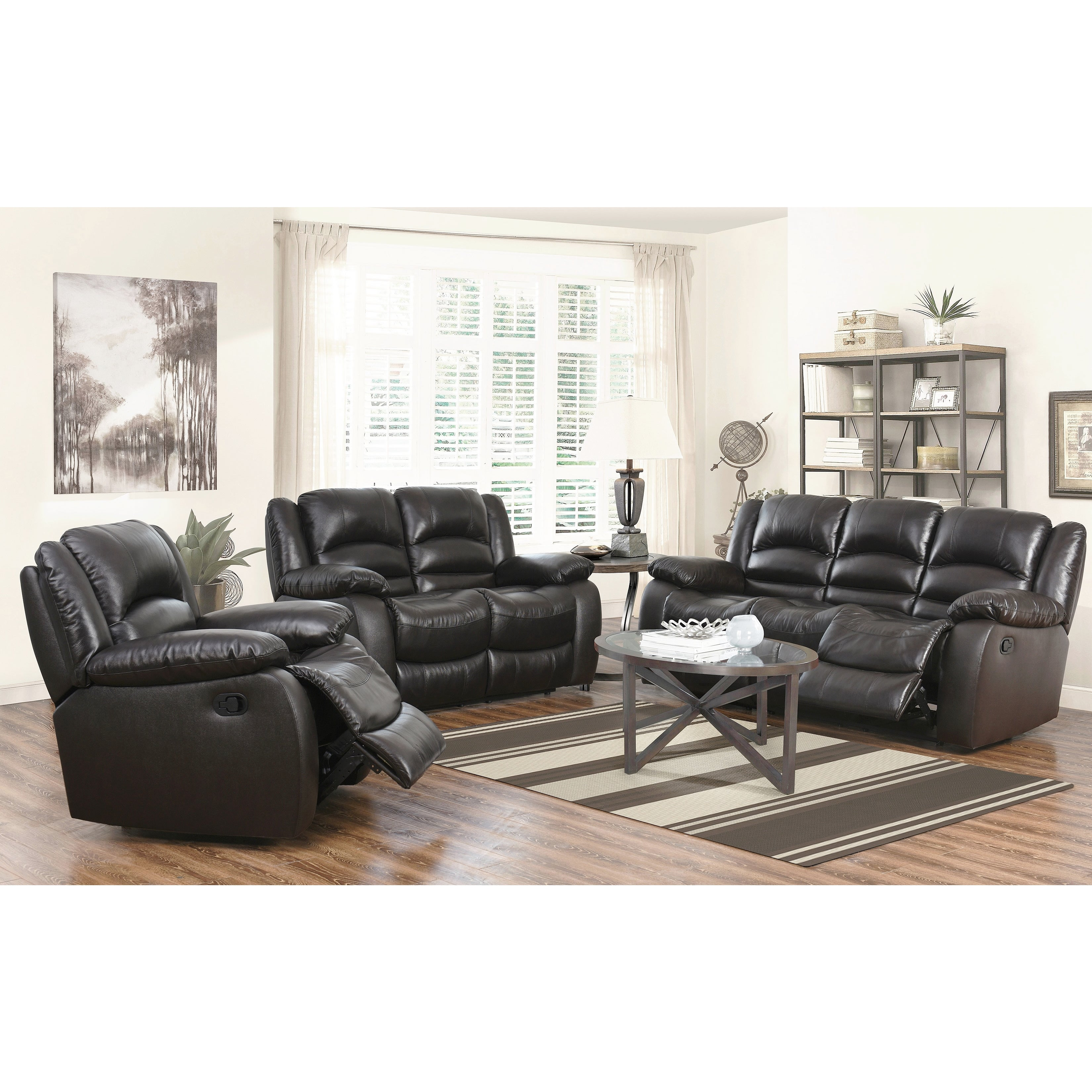 Abbyson Brownstone Top Grain Leather Reclining 3 Piece Living Room  ~ Reclining Sofa And Loveseat