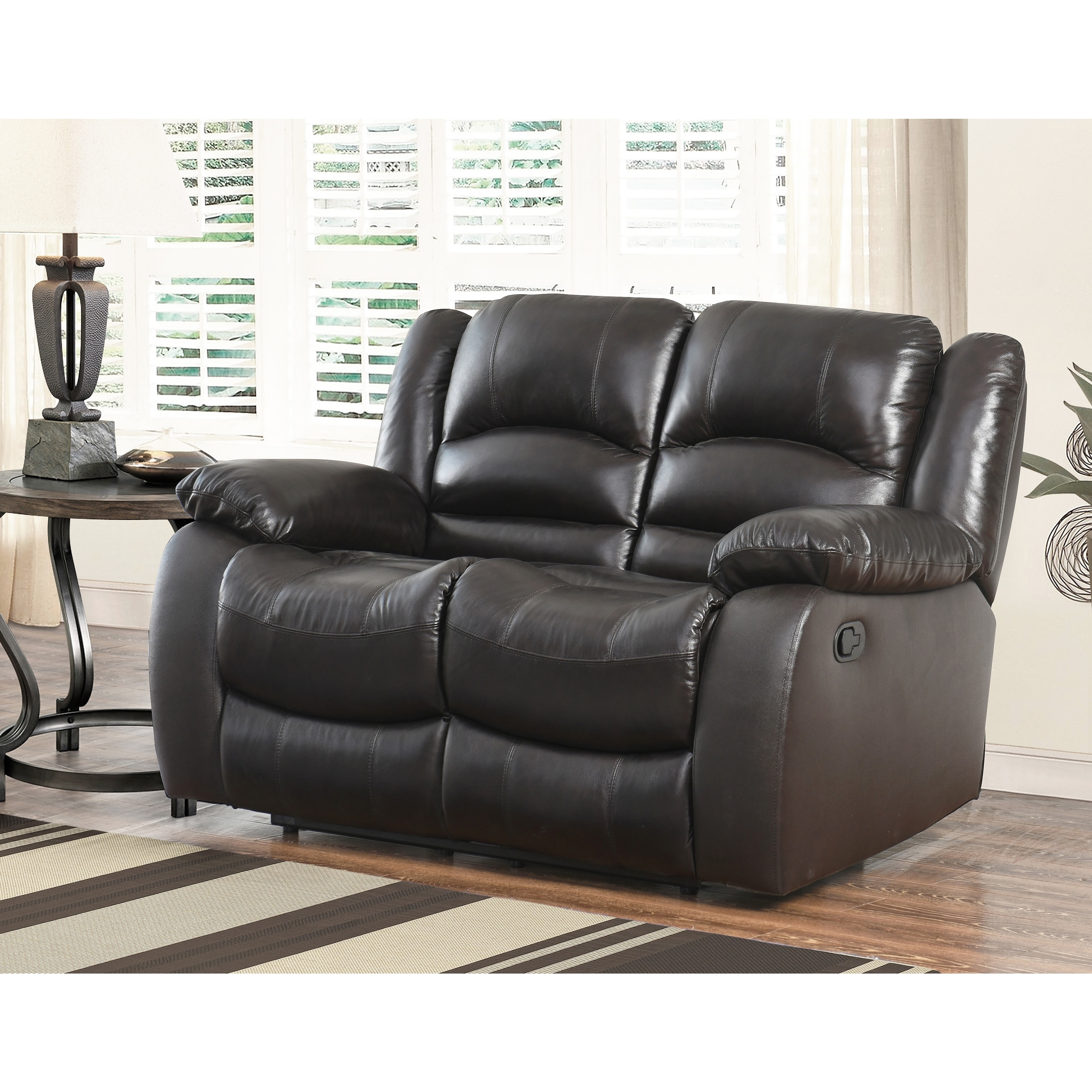 Abbyson Brownstone Top Grain Leather Reclining 3 Piece Living Room