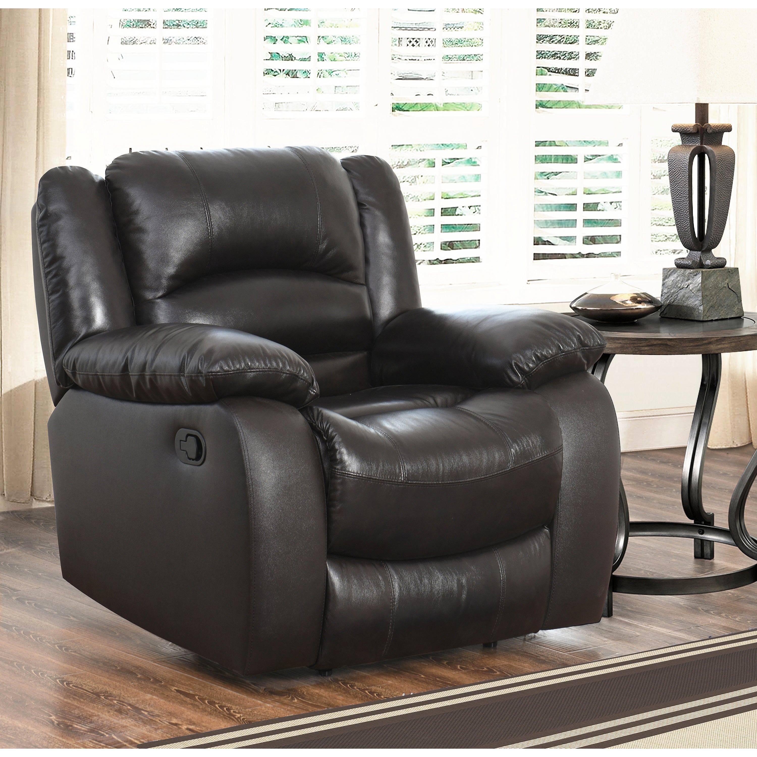 Abbyson Brownstone Top Grain Leather Reclining 3 Piece Living Room  ~ Brown Leather Reclining Sofa