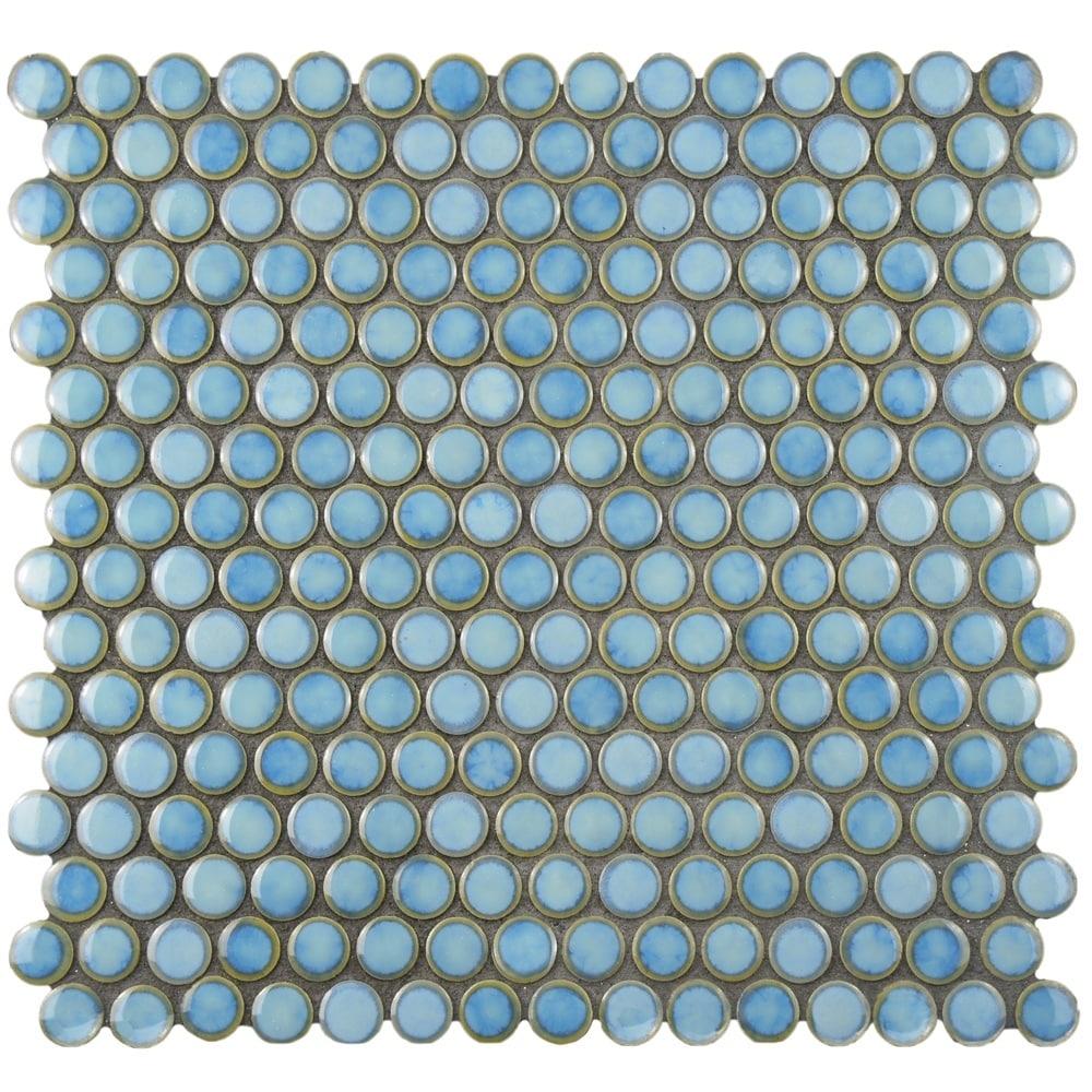 Shop SomerTile 12x12.625-inch Penny Marine Porcelain Mosaic Floor ...