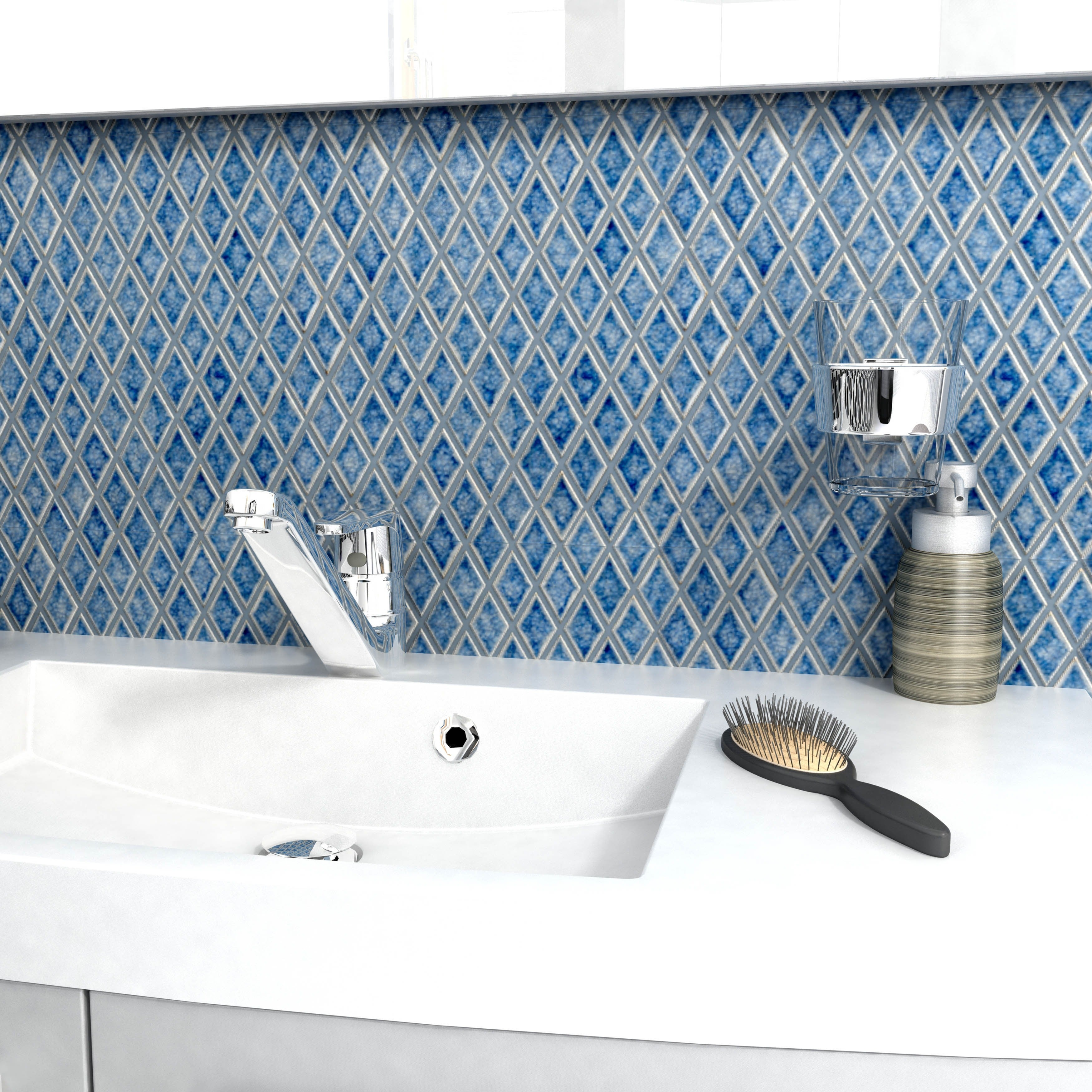 SomerTile 12x12-inch Crackle Diamond Azure Ceramic Mosaic Wall Tile ...