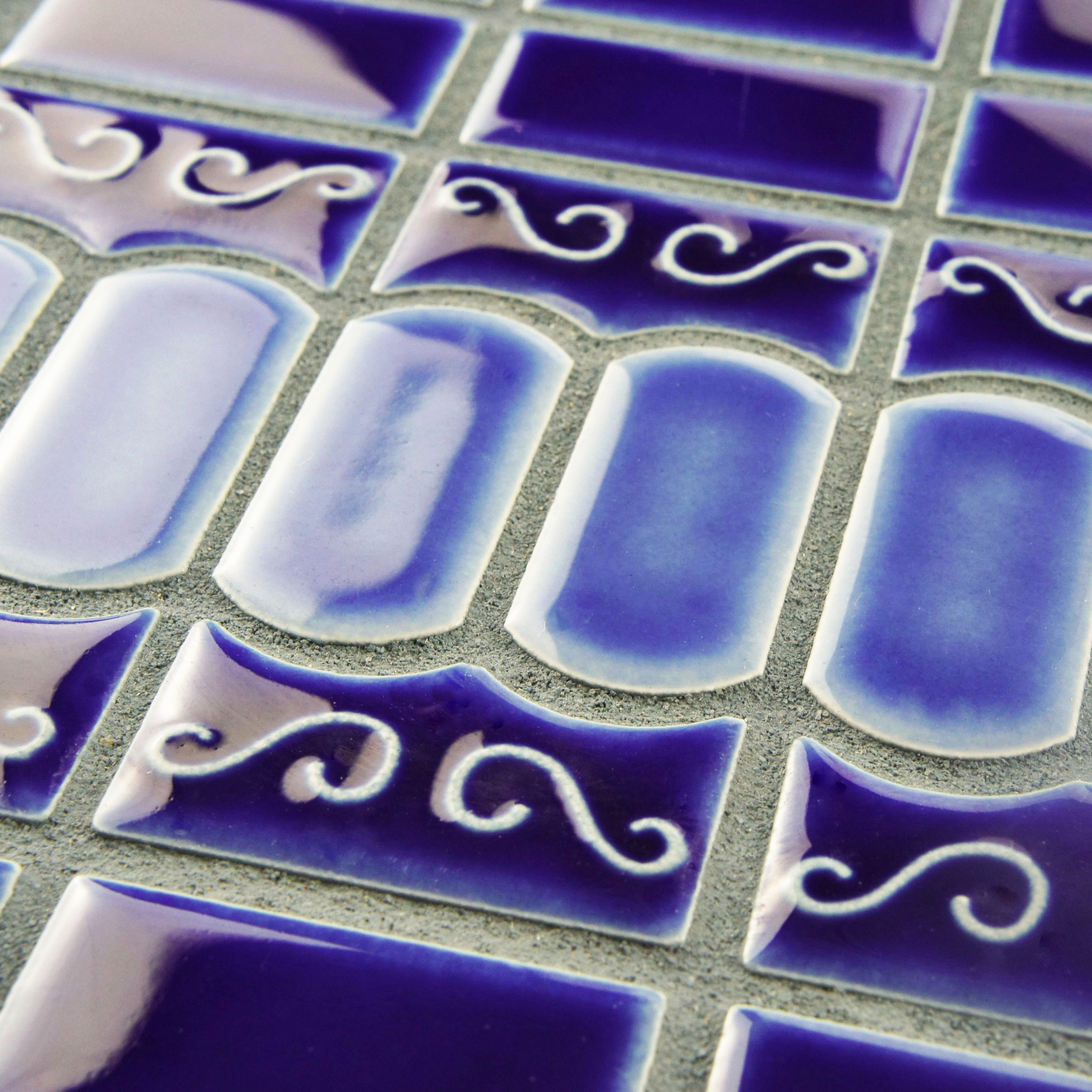 SomerTile 11.5x13.125-inch Modena Cobalt Blue Porcelain Mosaic Floor ...