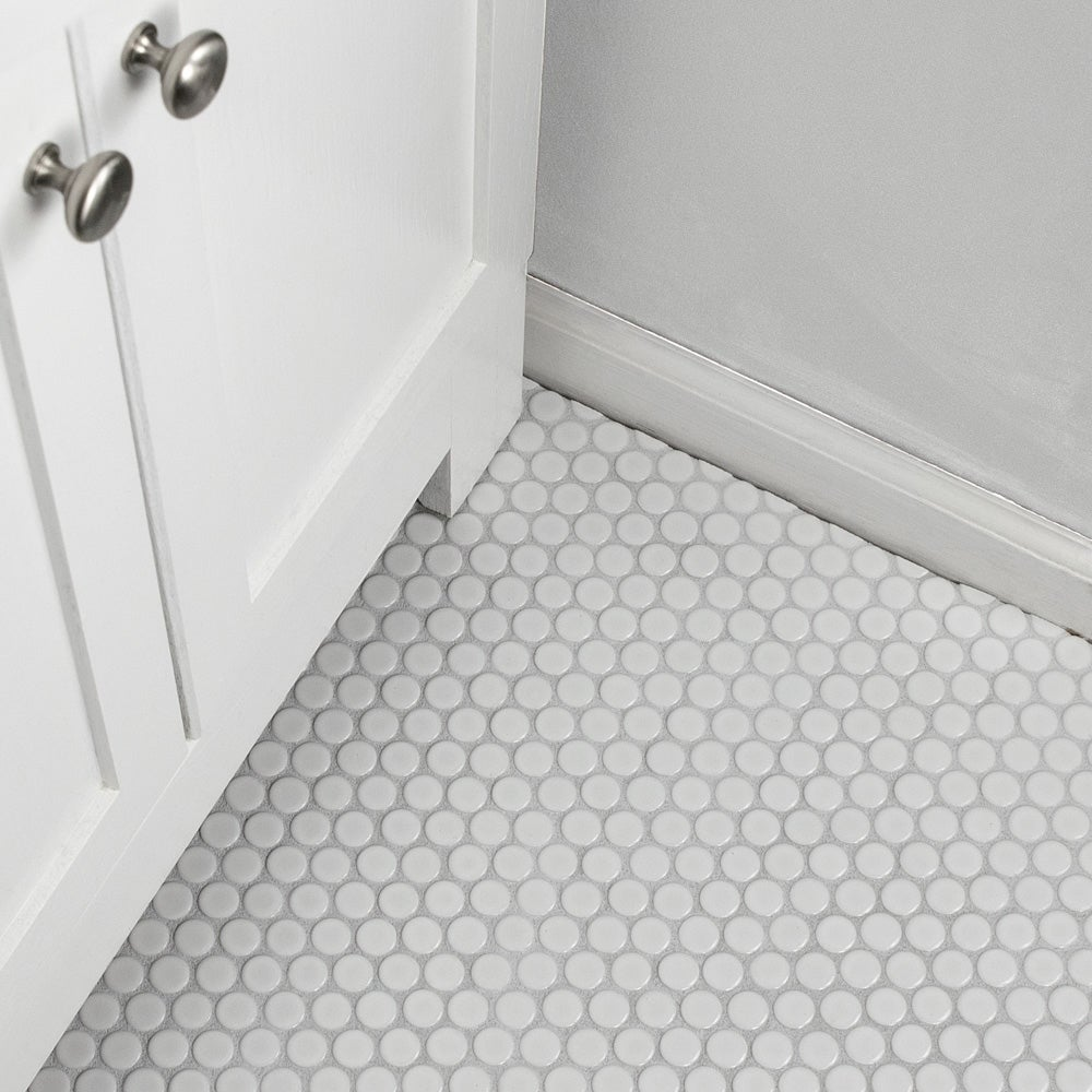 Shop SomerTile 12x12.625-inch Penny Glossy White Porcelain Mosaic ...