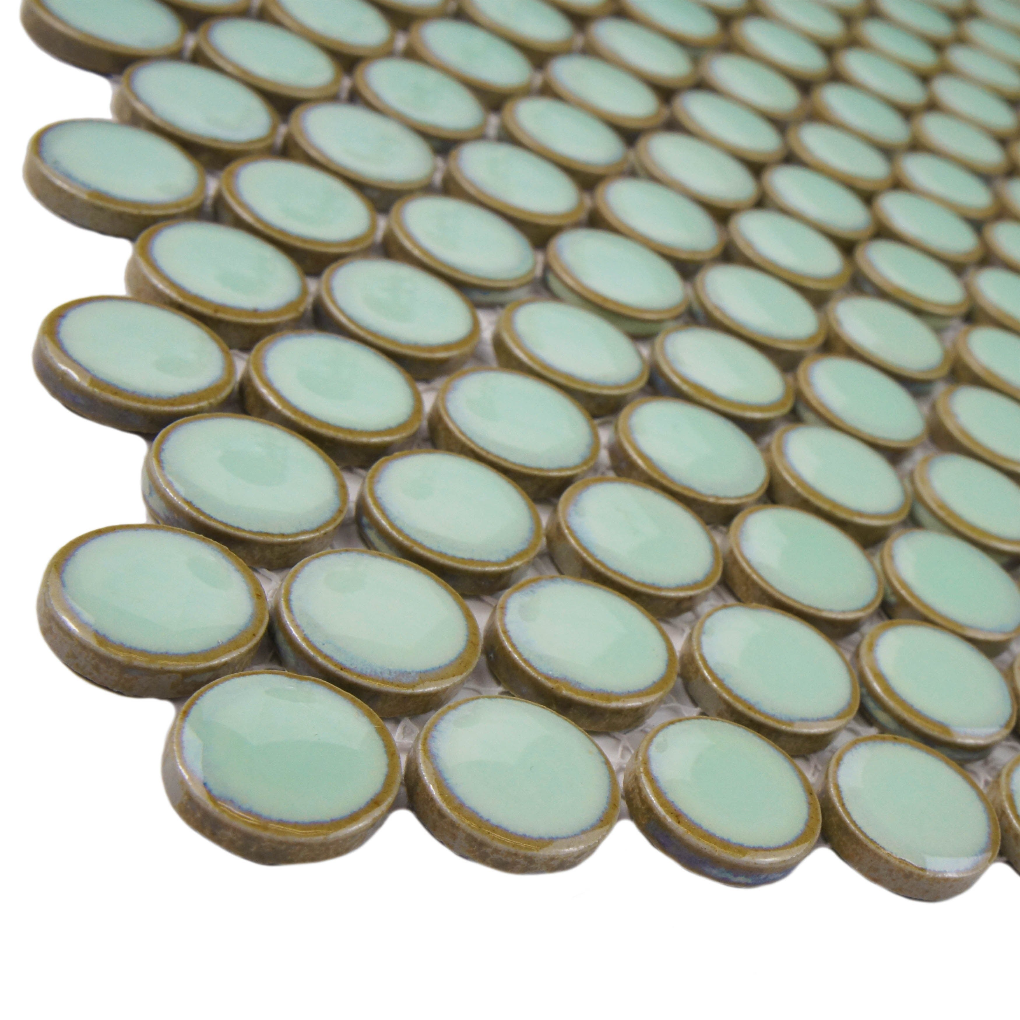 Somertile 12x12 625 Inch Penny Light Green Porcelain Mosaic Floor And Wall Tile 10 Case 2 Sqft Free Shipping On Orders Over 45