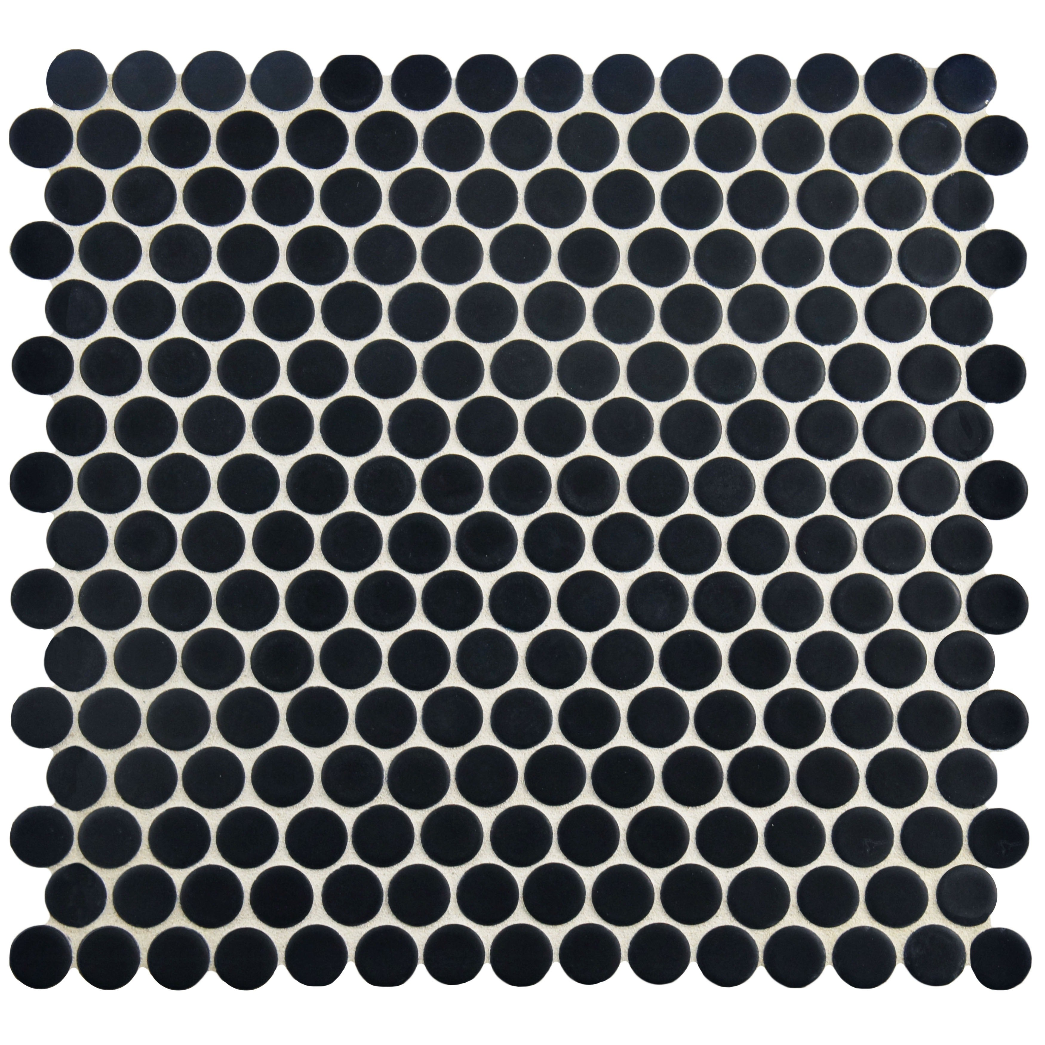 Somertile 12x12 625 Inch Penny Glossy Black Porcelain Mosaic Floor And Wall Tile 10 Tiles 2 Sqft Free Shipping On Orders Over 45