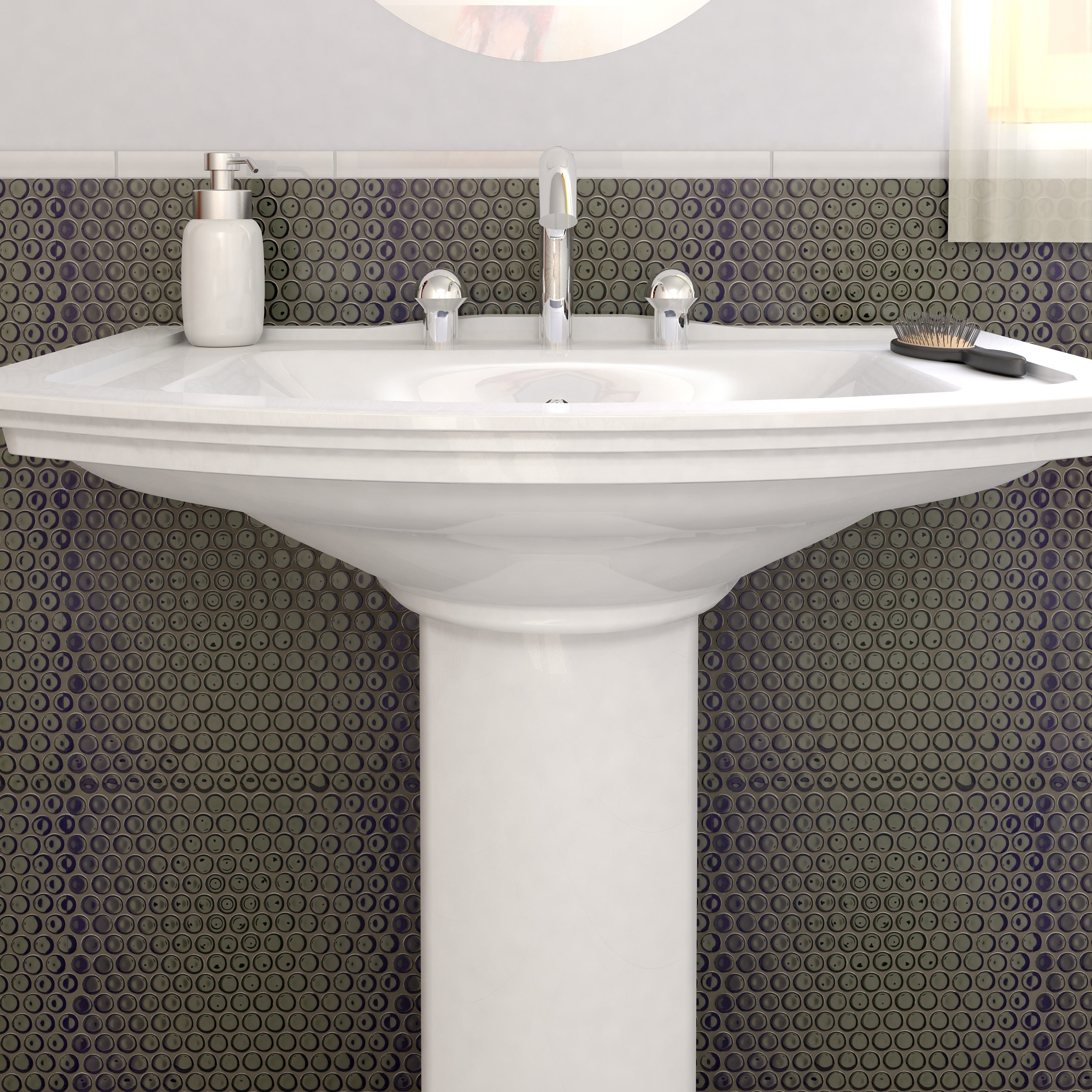 Shop SomerTile 12x12.625-inch Penny Glossy Black Porcelain Mosaic ...