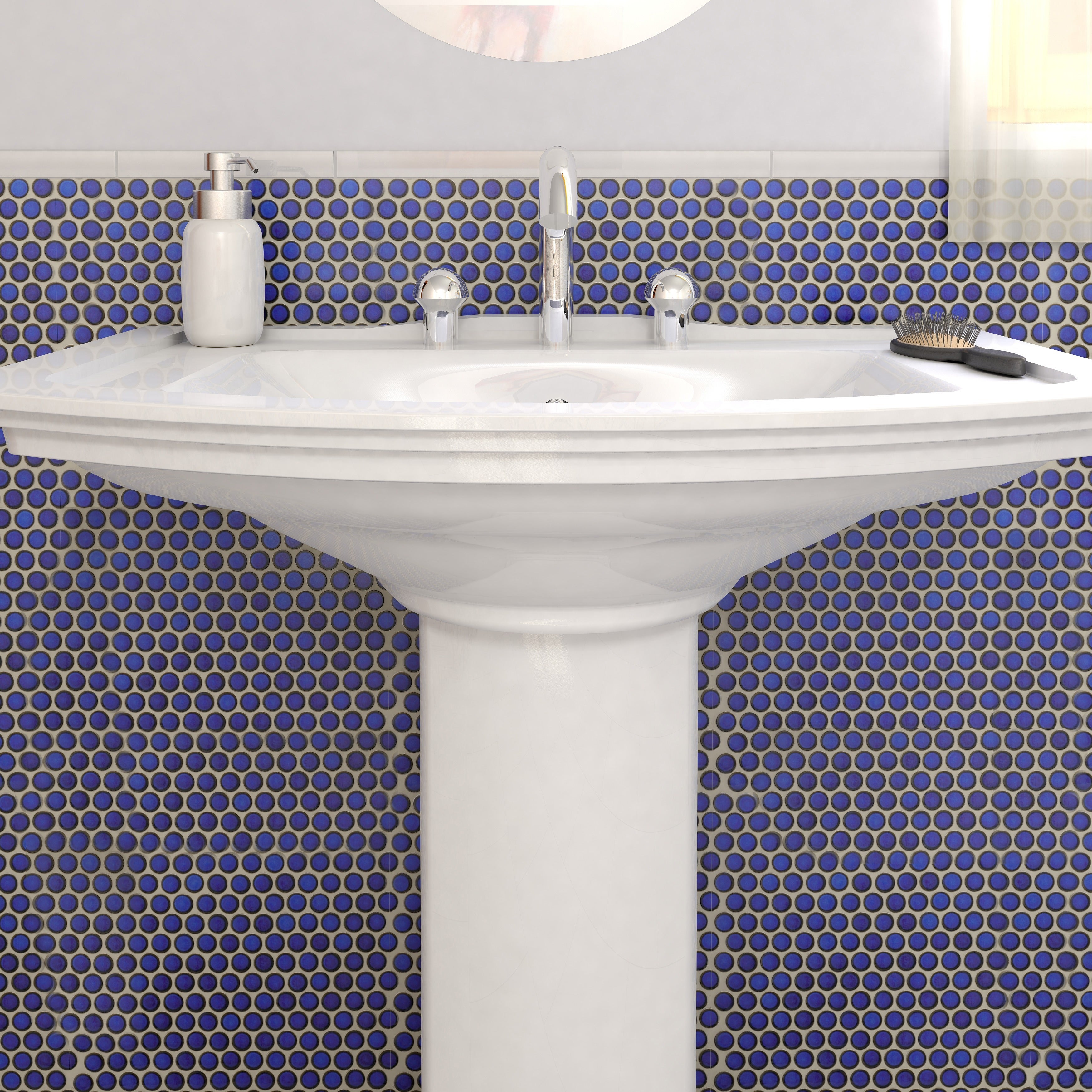SomerTile 12x12.625-inch Penny Blue Eye Porcelain Mosaic Floor and ...