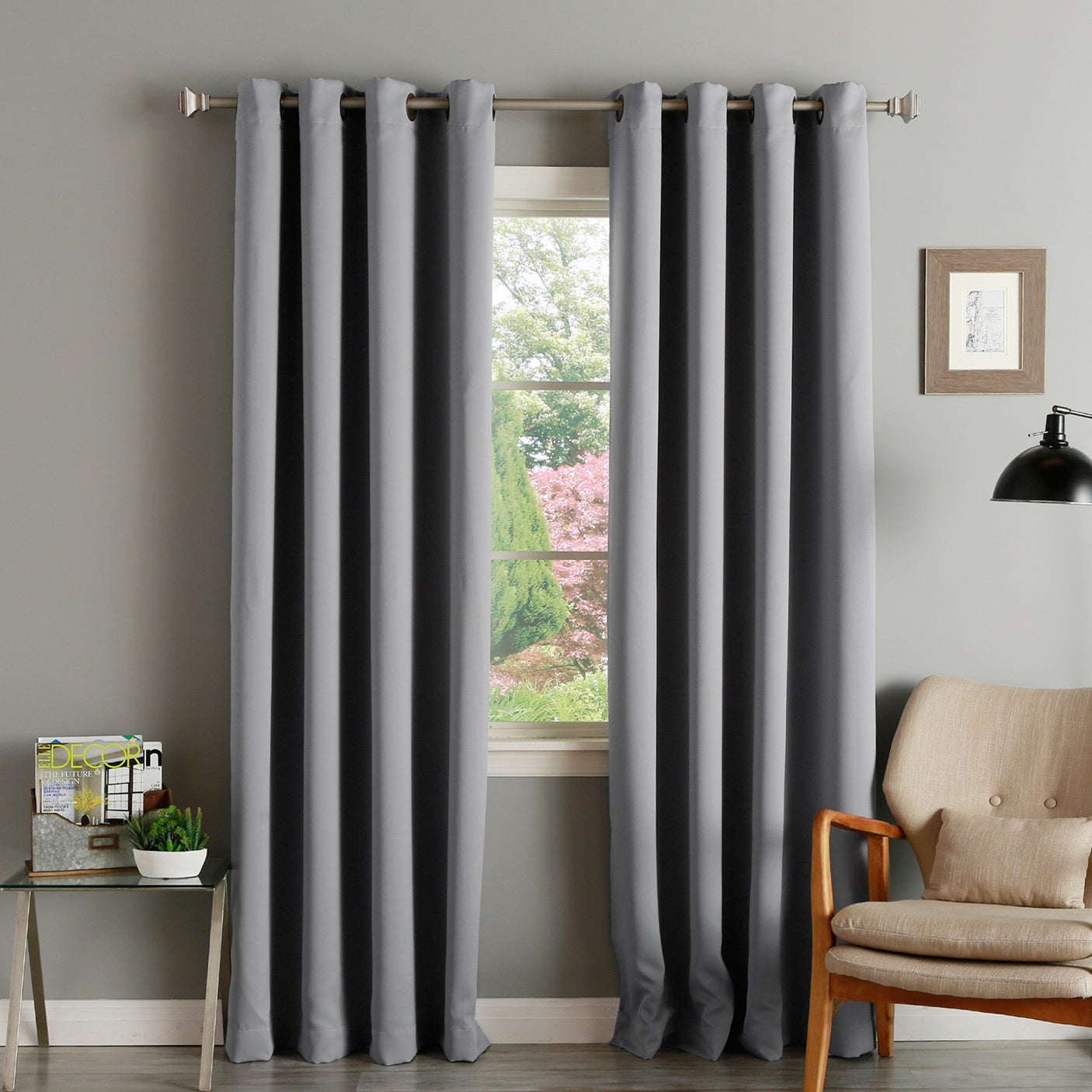 Shop Aurora Home Solid Grommet Top Thermal Insulated 108 Inch Blackout Curtain Panel Pair