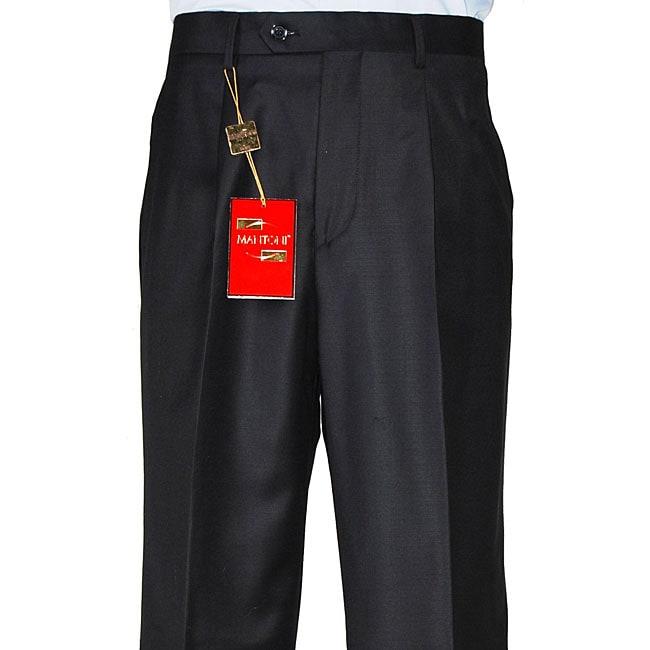 Shop Mens Black Single Pleat Wool Dress Pants Free Shipping Today