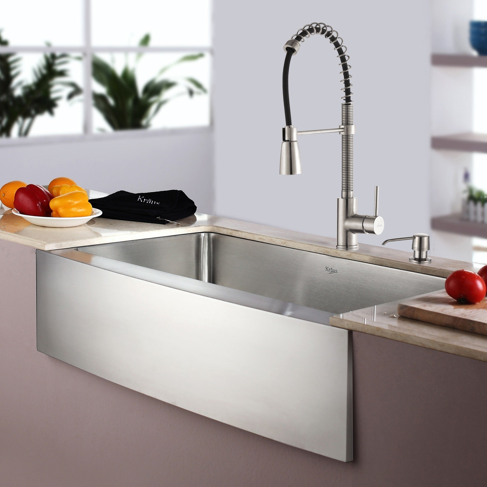 KRAUS 30 Inch Farmhouse Single Bowl Stainless Steel Kitchen Sink ...