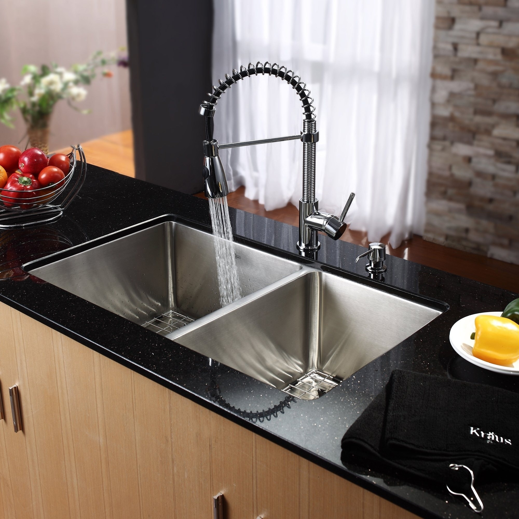 Shop KRAUS Undermount Double Bowl Stainless Steel Kitchen Sink, KPF ...