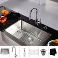 KRAUS 36 Inch Farmhouse Single Bowl Stainless Steel Kitchen Sink with Pull Down Kitchen Faucet and Soap Dispenser
