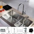 KRAUS 33 Inch Farmhouse Double Bowl Stainless Steel Kitchen Sink with Pull Down Kitchen Faucet and Soap Dispenser in Chrome