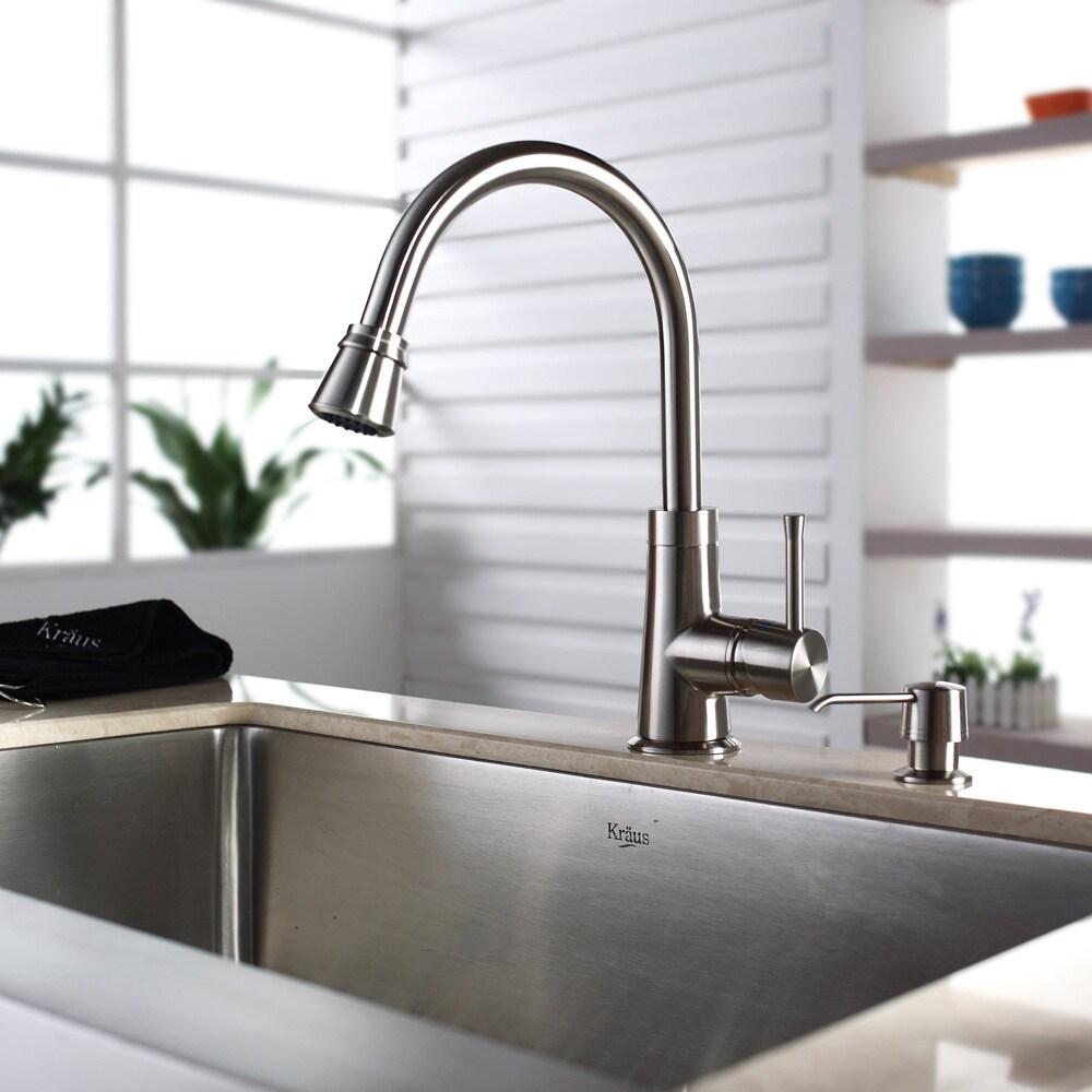 Shop Kraus Stainless Steel Farmhouse Kitchen Sink Brass Faucet