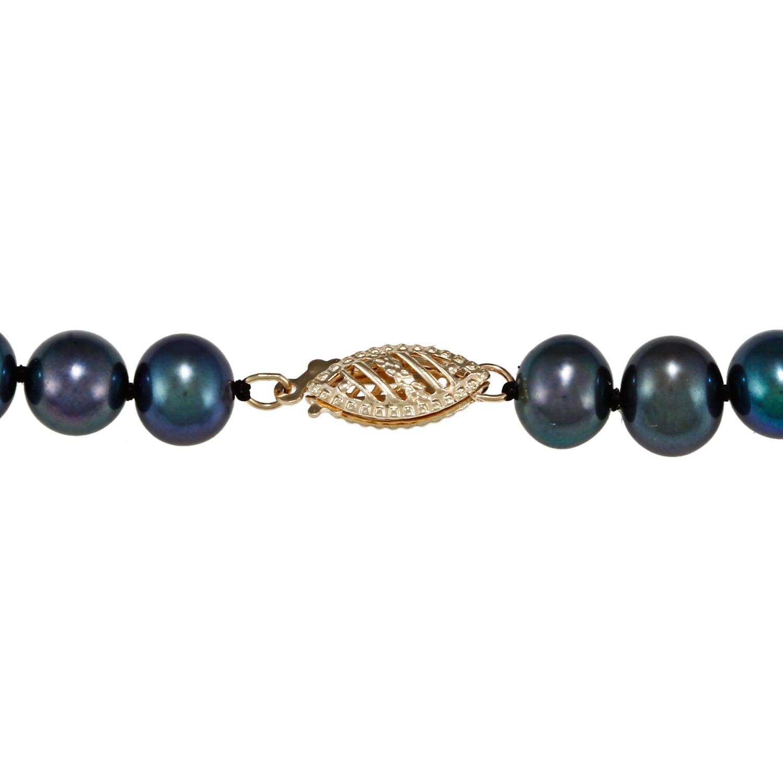 DaVonna 14k 6.5-7mm Black Freshwater Cultured Pearl Strand Necklace ...