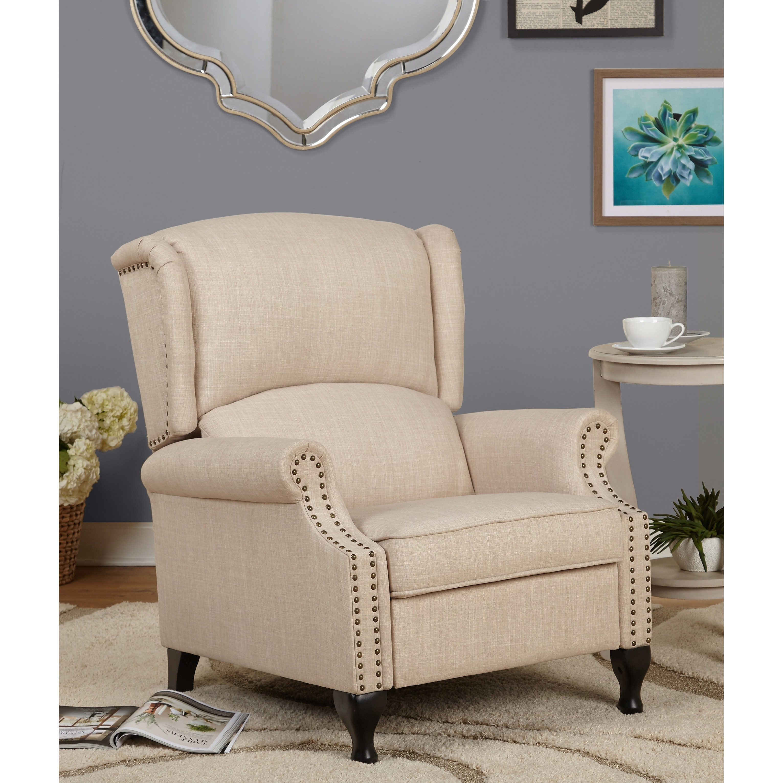 Shop Simple Living Upholstered Wing Recliner - Free Shipping Today ...