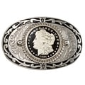 American Coin Treasures Black Enamel Morgan Silver Dollar Belt Buckle