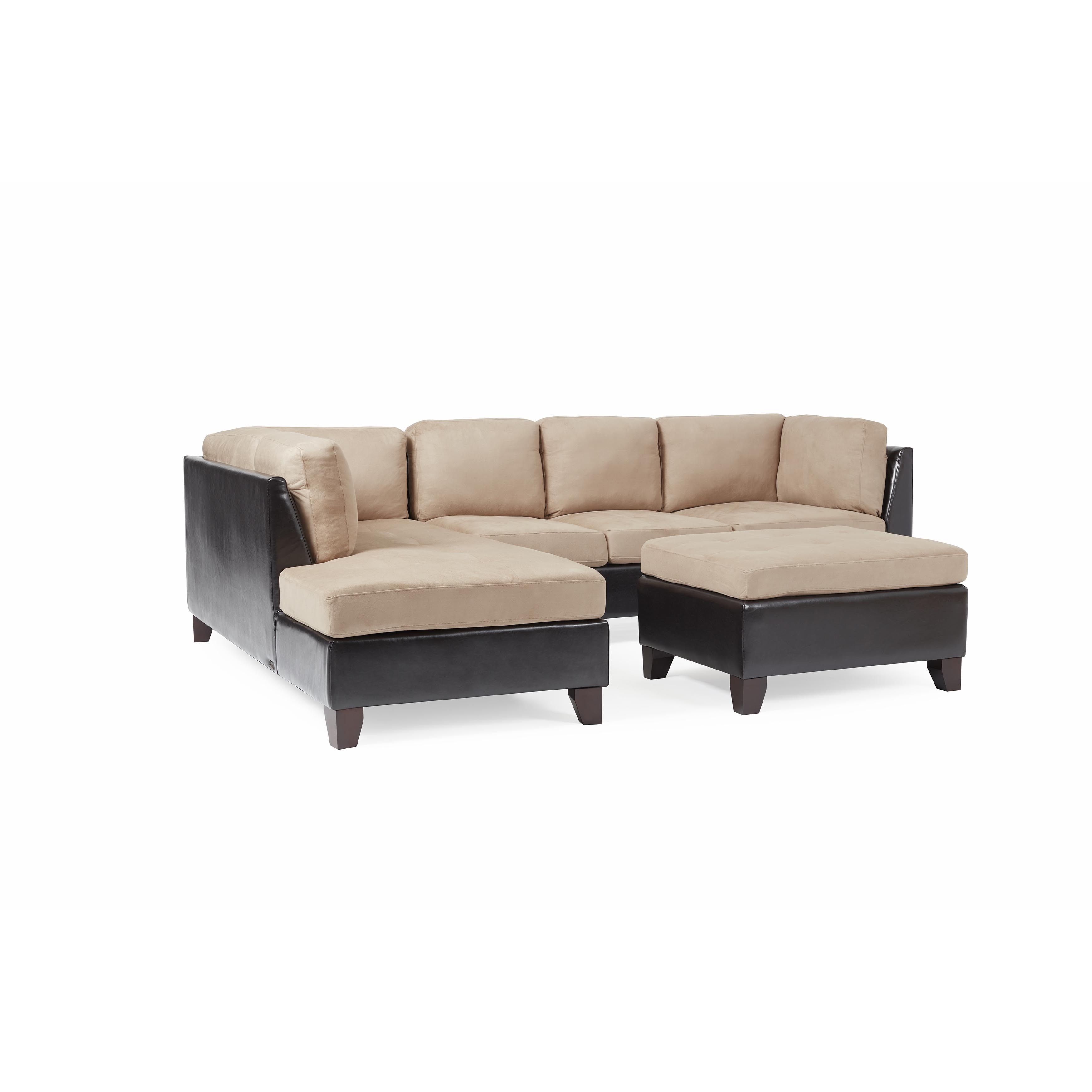 Shop Abbyson Charlotte Beige Sectional Sofa And Ottoman   On Sale   Free  Shipping Today   Overstock.com   4697404