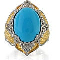 Michael Valitutti Sterling Silver Turquoise and Sapphire Ring