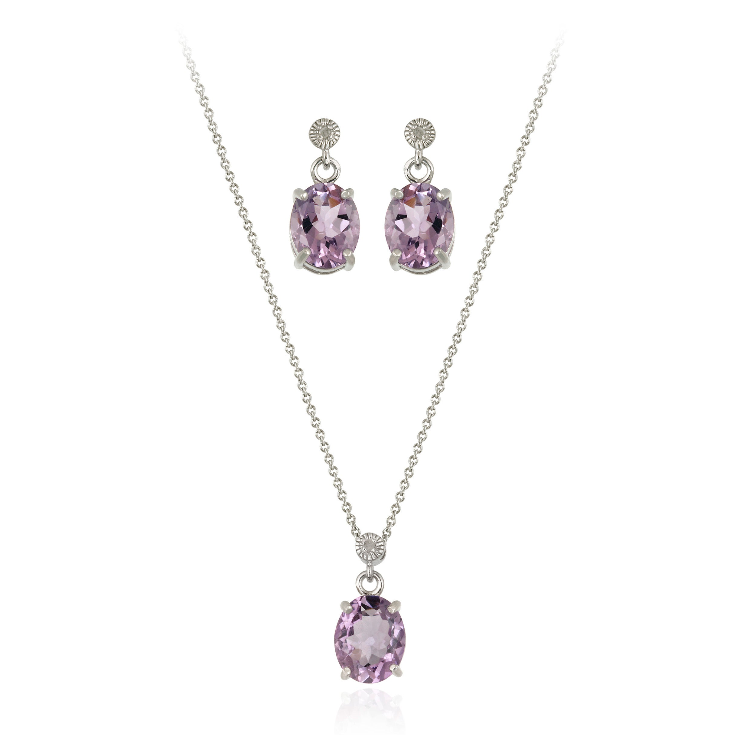Glitzy Rocks Sterling Silver 7 8 Ctw Amethyst Necklace And Earrings Set On Free Shipping Orders Over 45 4719223