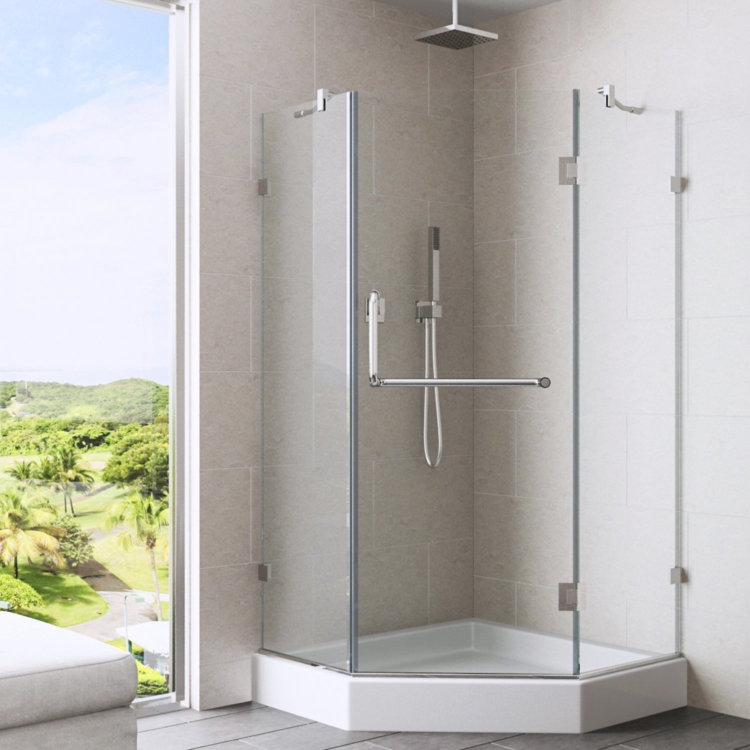 Shop VIGO 36 X 36 Frameless Neo Angle Clear Shower Enclosure And White Base    Free Shipping Today   Overstock.com   4719389