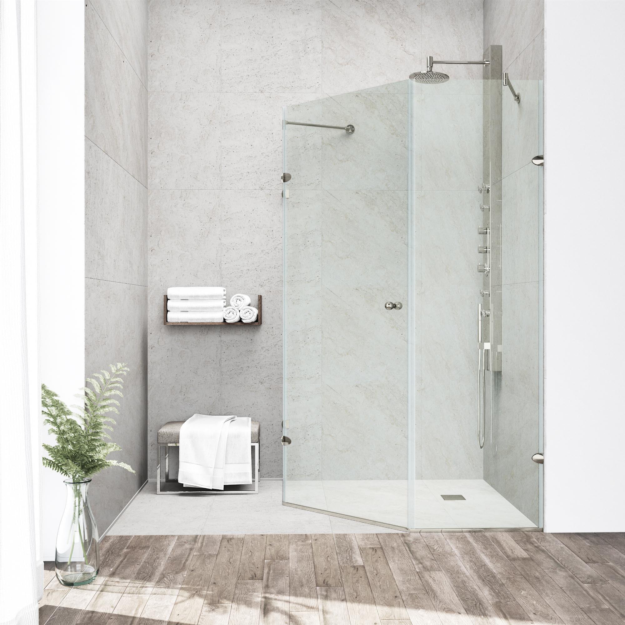 Shop VIGO Watertight Frameless Neo-Angle 3/8-Inch Clear Shower ...