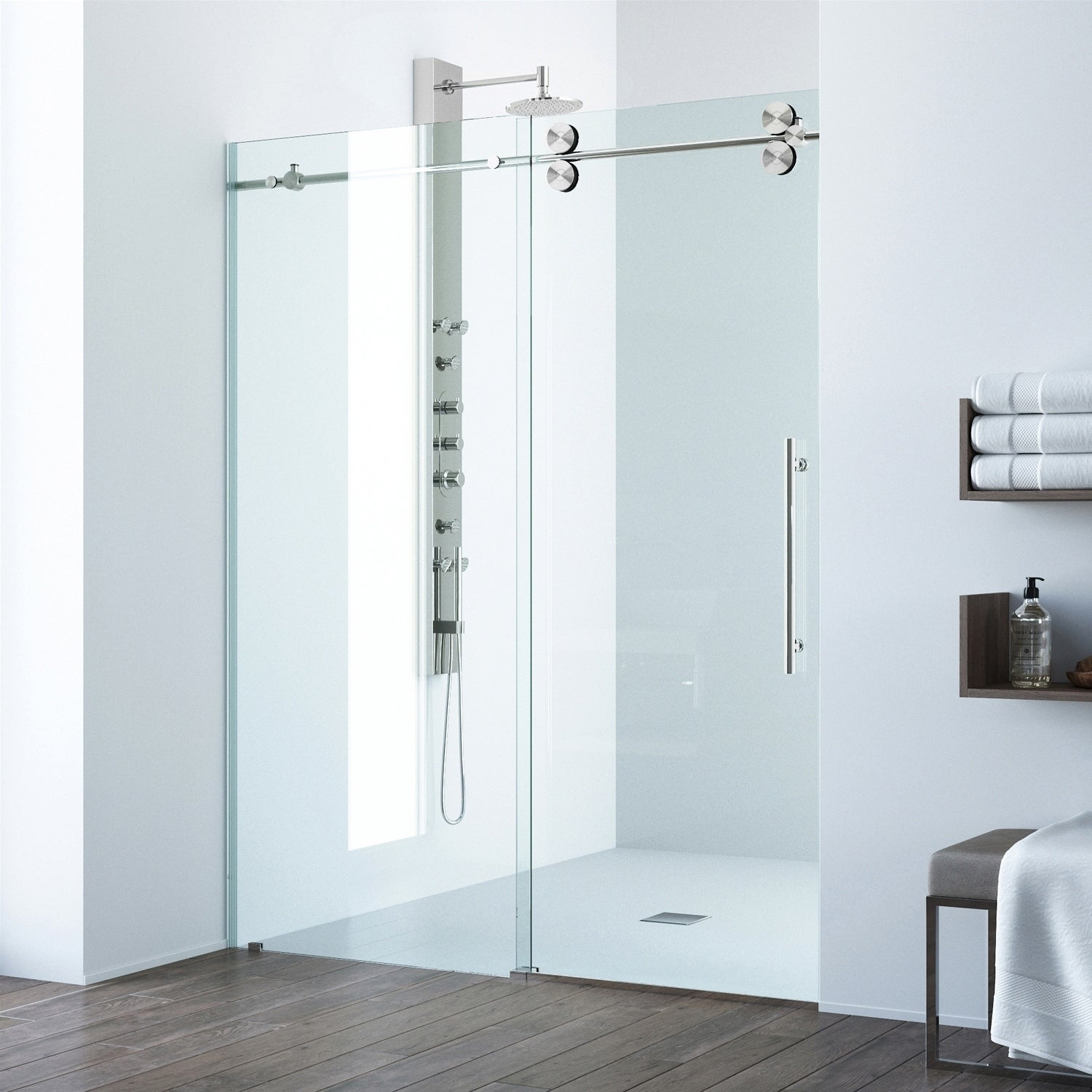 Shop Vigo Elan 48 Inch Frameless Sliding Shower Door Clearstainless
