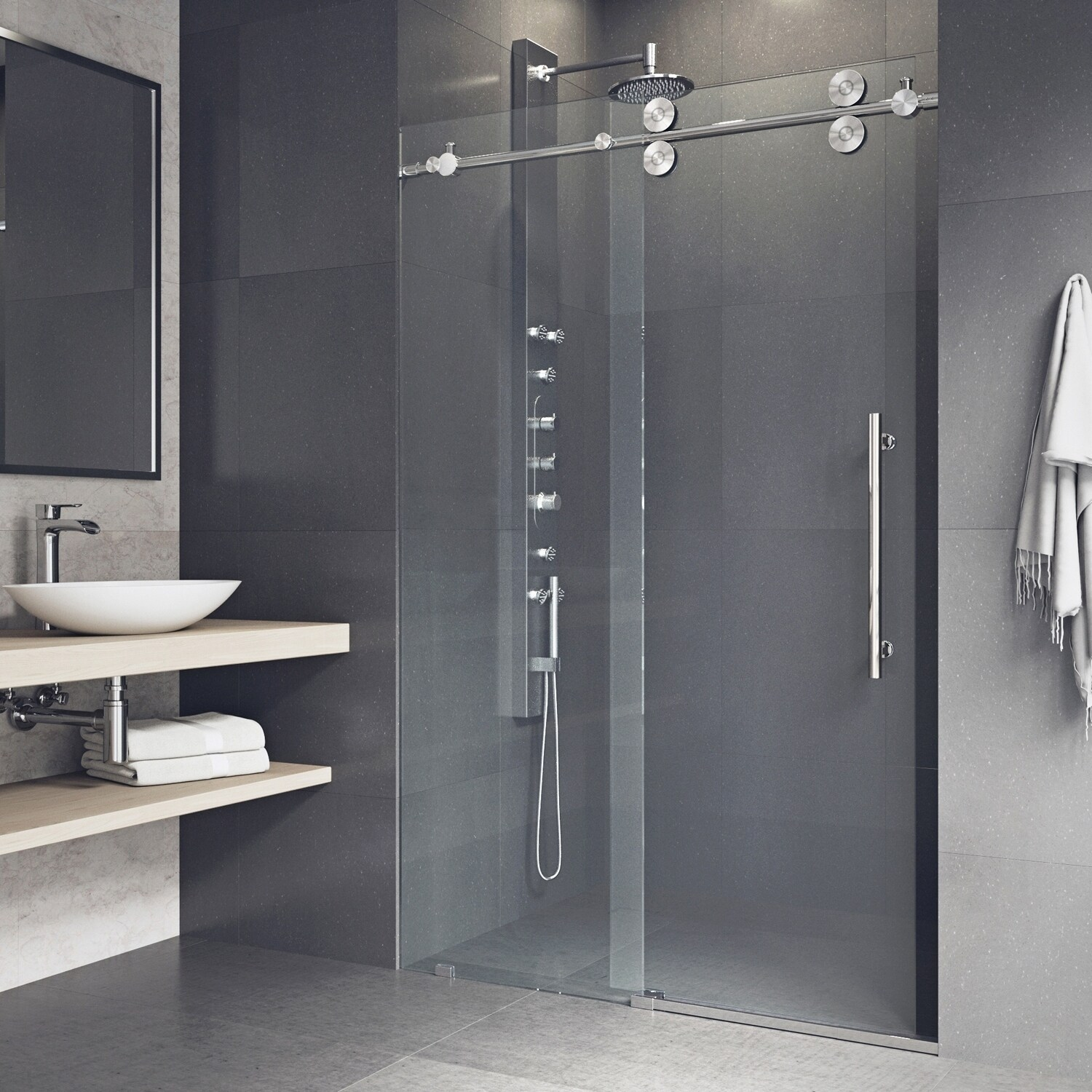 Shop Vigo Elan Adjustable Frameless Sliding Shower Door On Sale