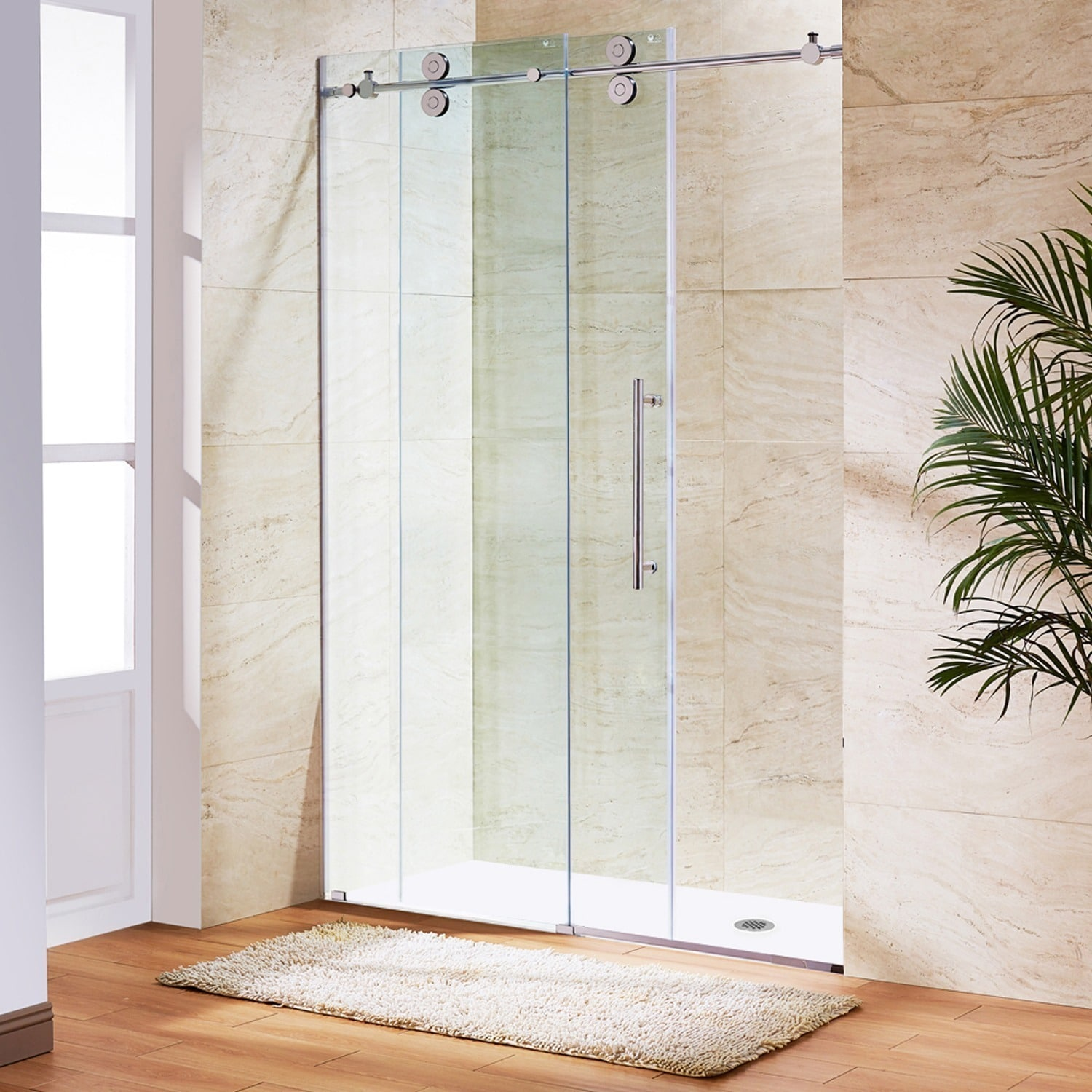 Vigo Elan Adjustable Frameless Sliding Shower Door Free Shipping