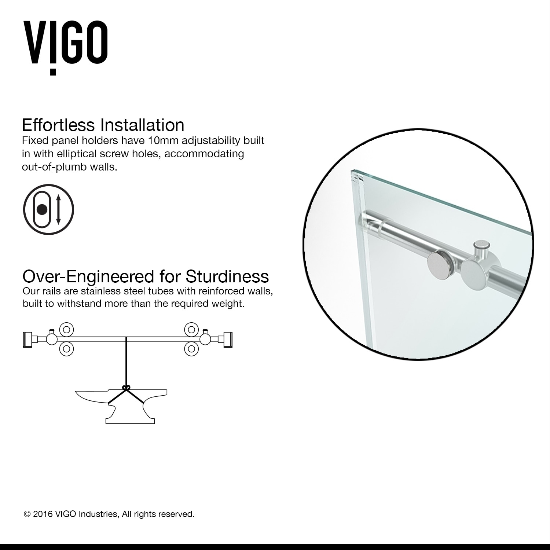 Vigo 60-inch Clear Glass Frameless Sliding Shower Door - Free Shipping Today - Overstock.com - 12636331  sc 1 st  Overstock.com & Vigo 60-inch Clear Glass Frameless Sliding Shower Door - Free ...