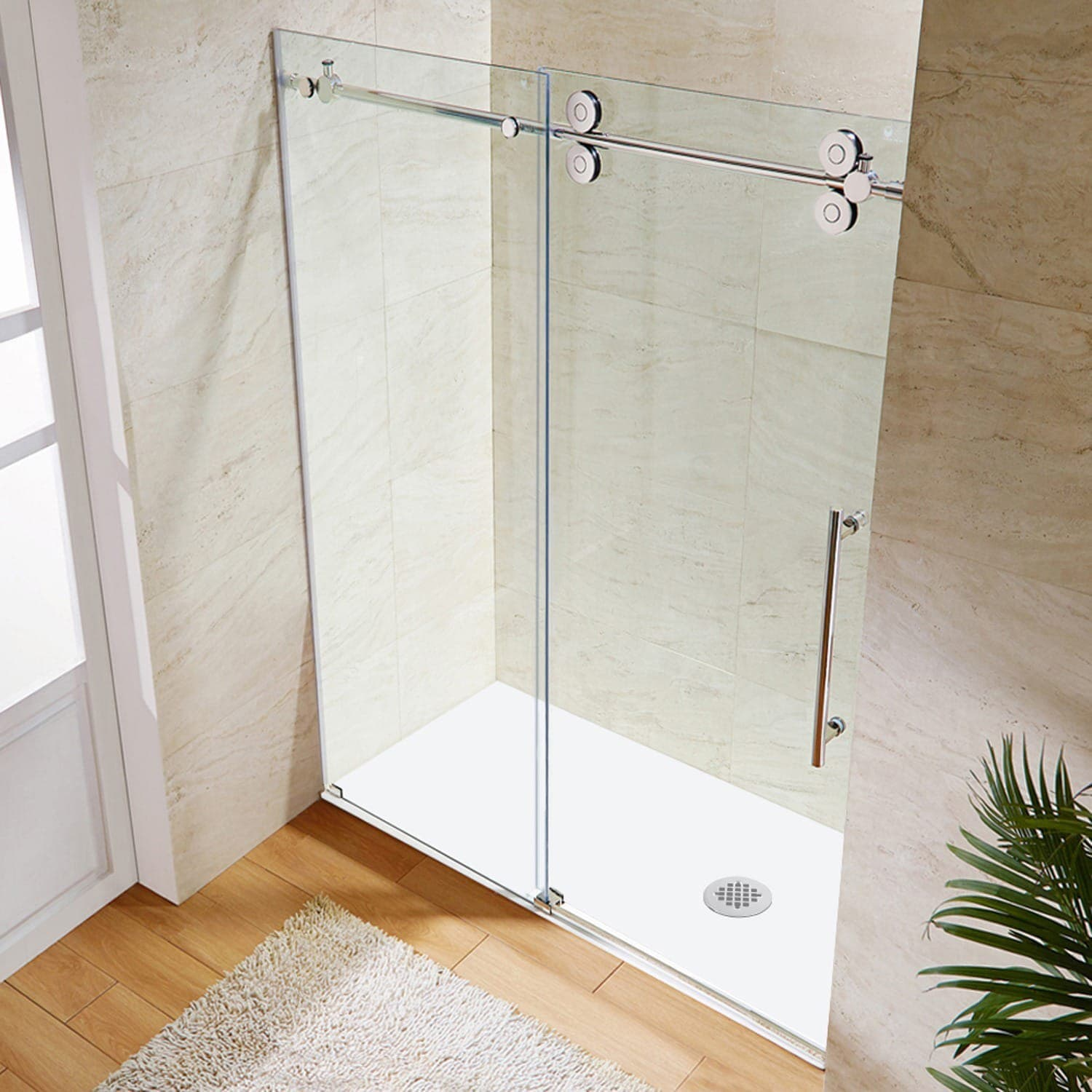 Shop VIGO 72-inch Frameless Sliding Glass Shower Door - Free ...