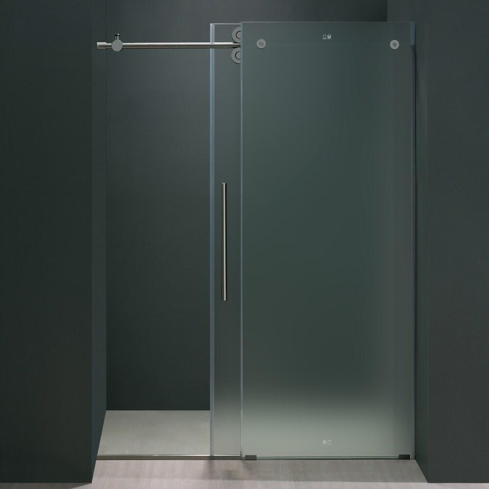 Shop Vigo 48 Inch Frameless Sliding Frosted Glass Shower Door Free