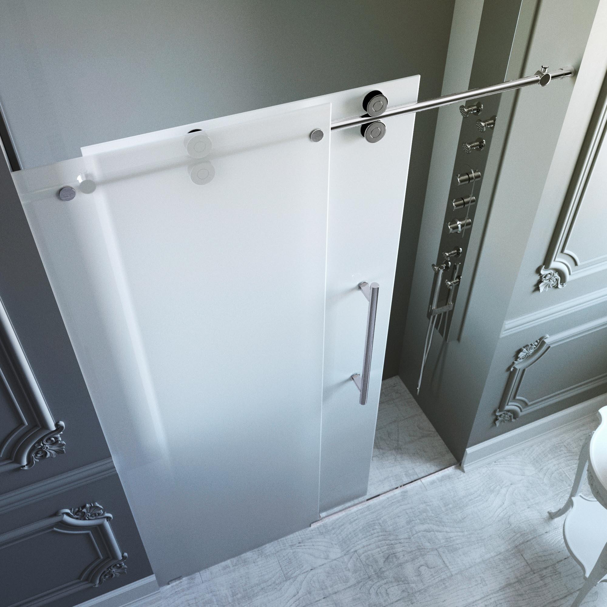 Shop Vigo 60 Inch Frameless Frosted Glass Sliding Shower Door Free