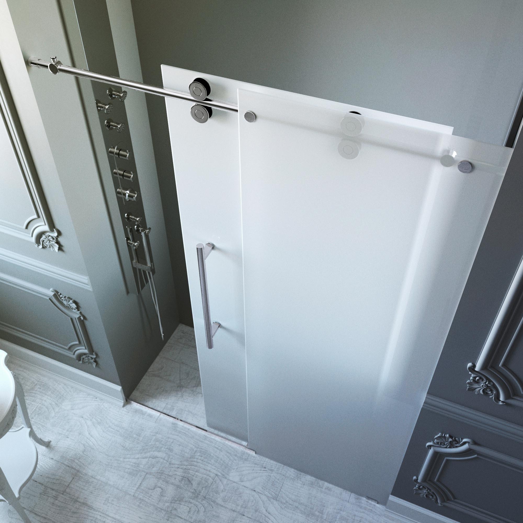 Shop Vigo 60 Inch Frameless Frosted Glass Sliding Shower Door On