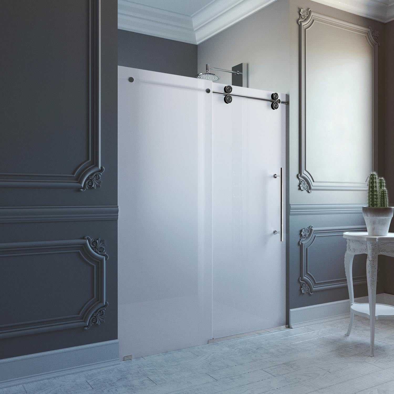 VIGO 60-inch Frameless Frosted Glass Sliding Shower Door - Free ...