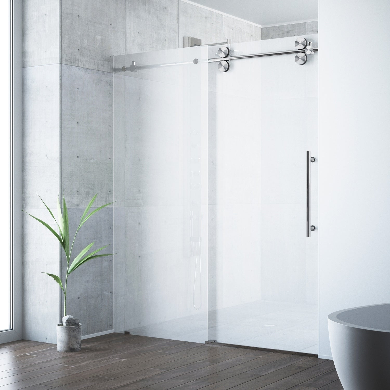 Shower Doors.Vigo Elan Frosted Adjustable Frameless Sliding Shower Door