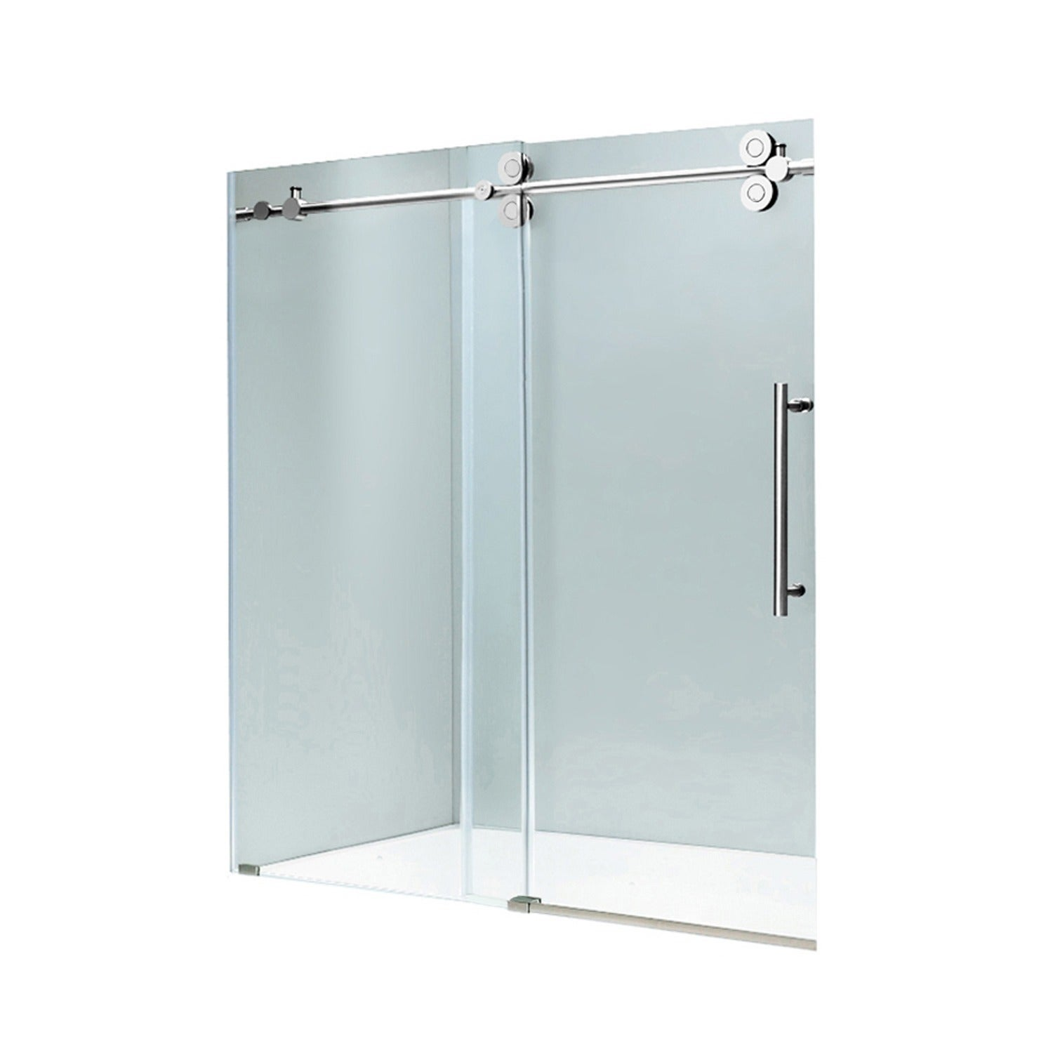Shop VIGO 60-inch Clear Glass Frameless Tub Sliding Door - 60\