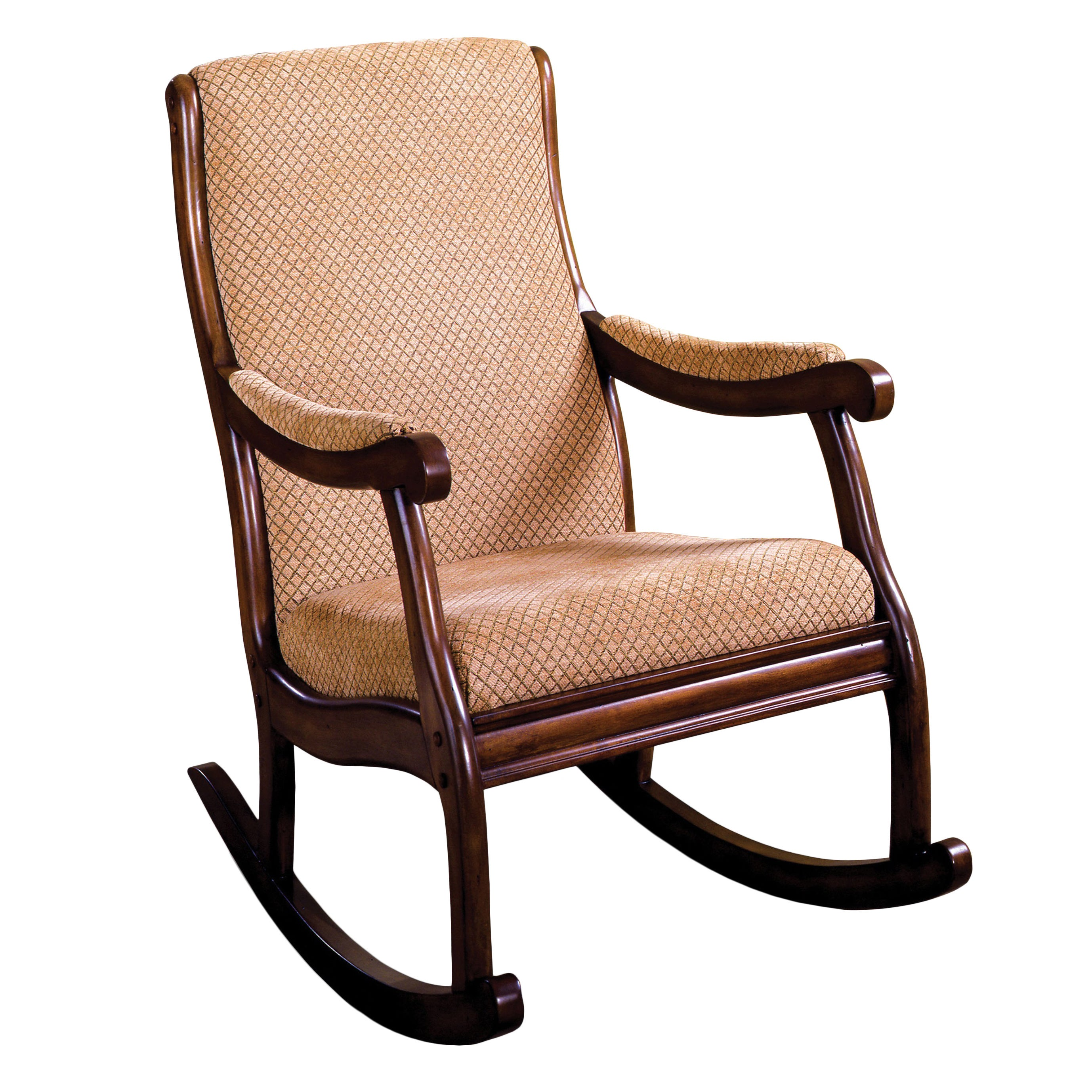 Shop Furniture Of America Antique Warm Oak Finish Wood/Fabric Upholstered Rocking  Chair   Free Shipping Today   Overstock.com   4734115