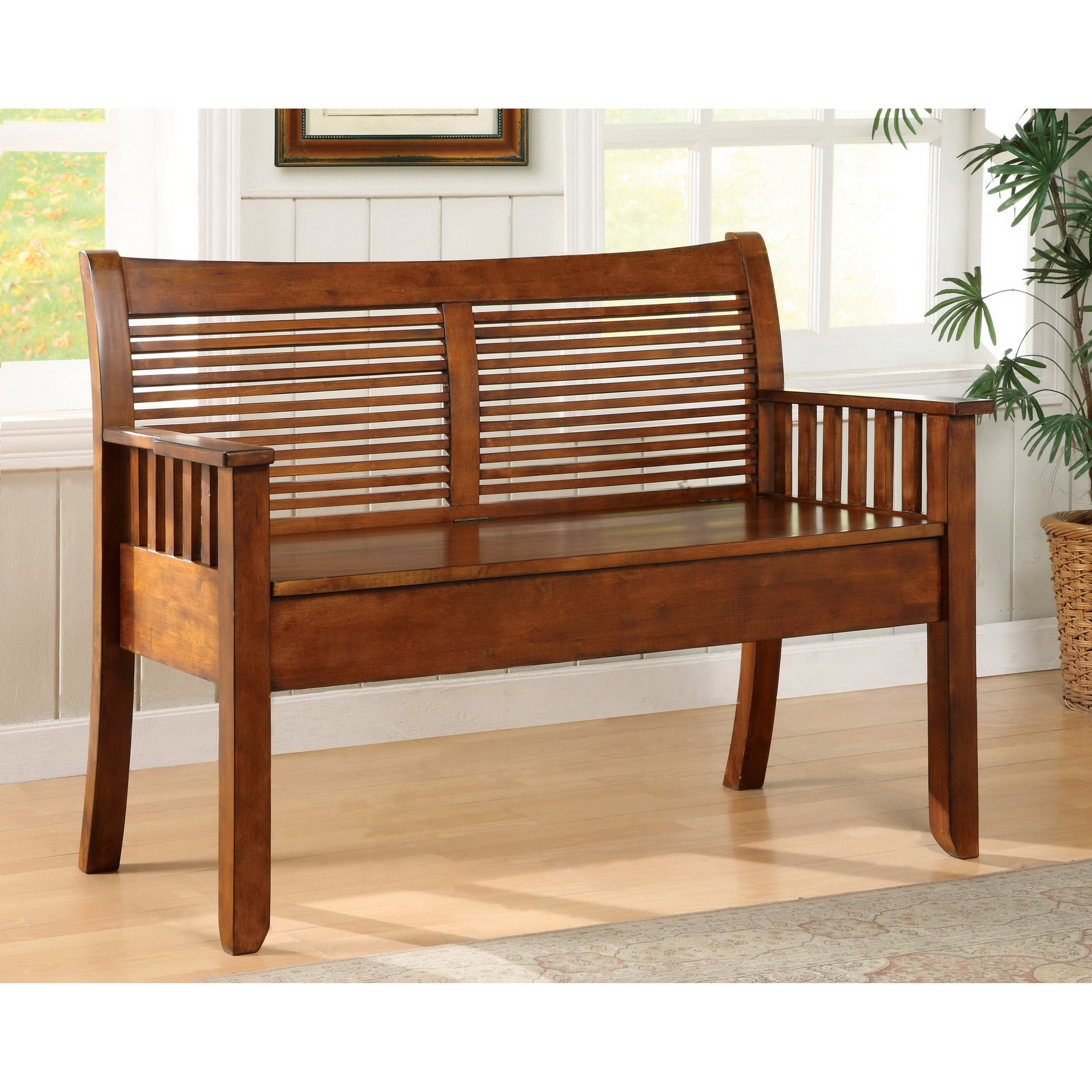 Shop Furniture Of America Solid Wood Storage Bench   Free Shipping Today    Overstock.com   4734272