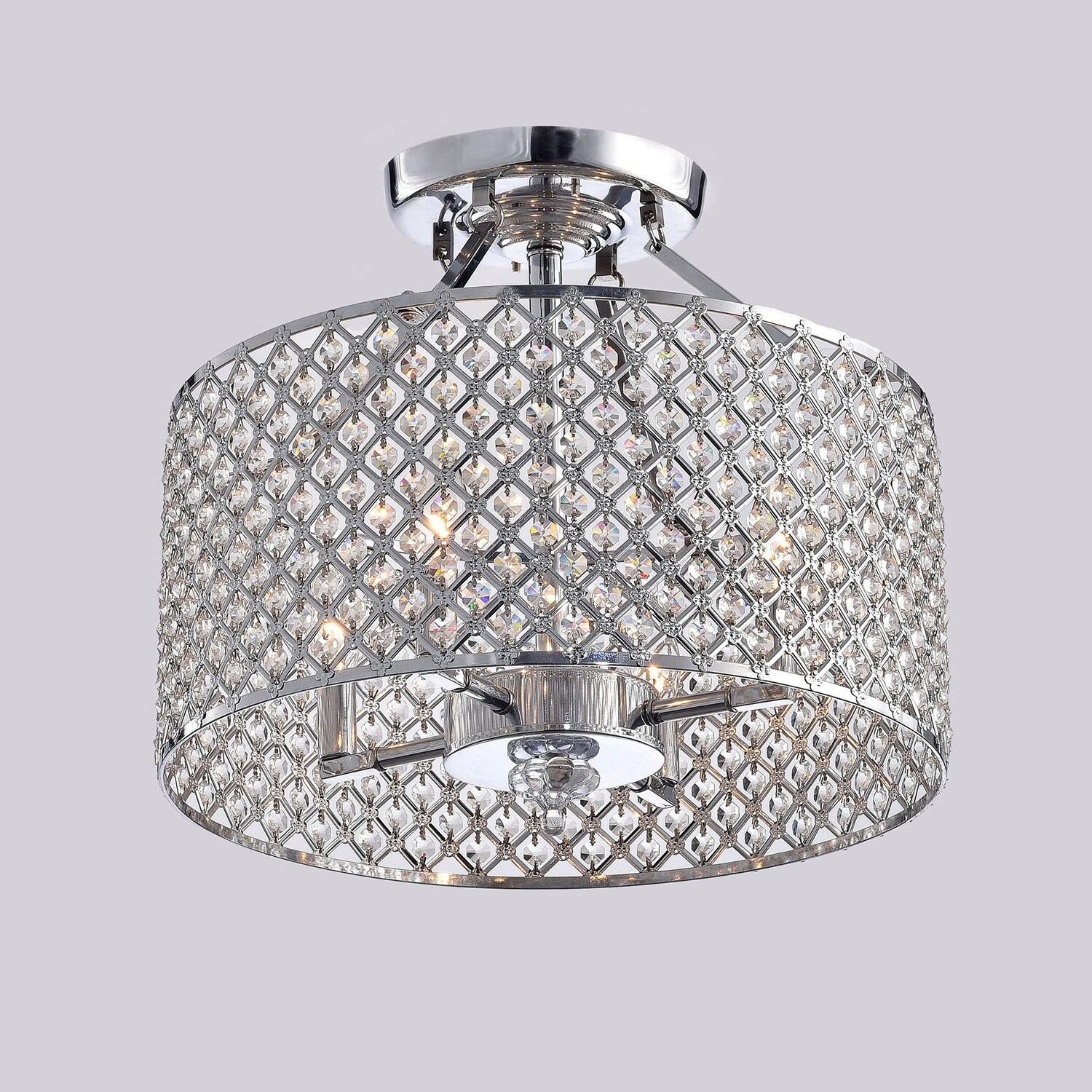 Chrome Crystal 4 Light Round Ceiling Chandelier Free Shipping Today 20253756