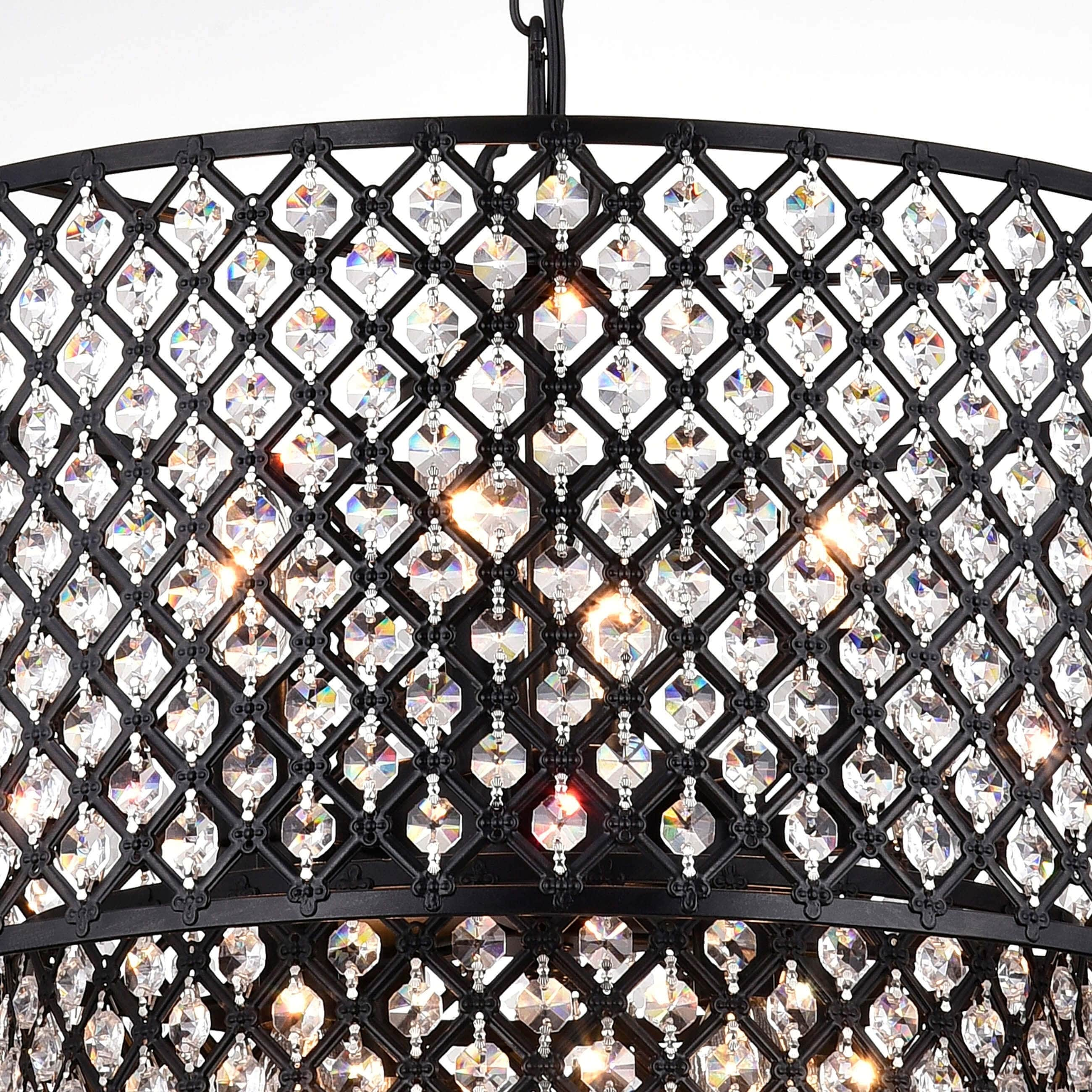 Antique Black 8 Light Double Round Crystal Chandelier On Free Today Com 4737584