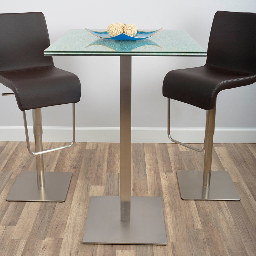 Ordinaire Shop Jenna Square Crackle Glass Pub Table   Free Shipping Today    Overstock.com   21426942