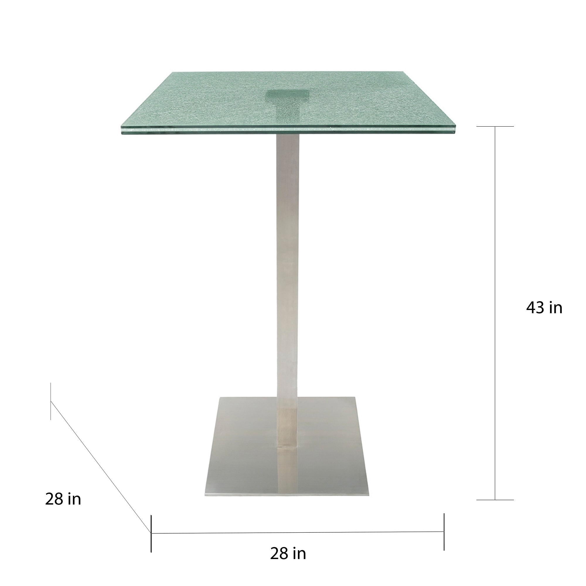 Shop Oliver James Faini Brushed Stainless Steel Pub Table On - Square pedestal pub table