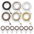 Pinnacle Bold Pole Resin Curtain Rod Rings (Pack of 7)