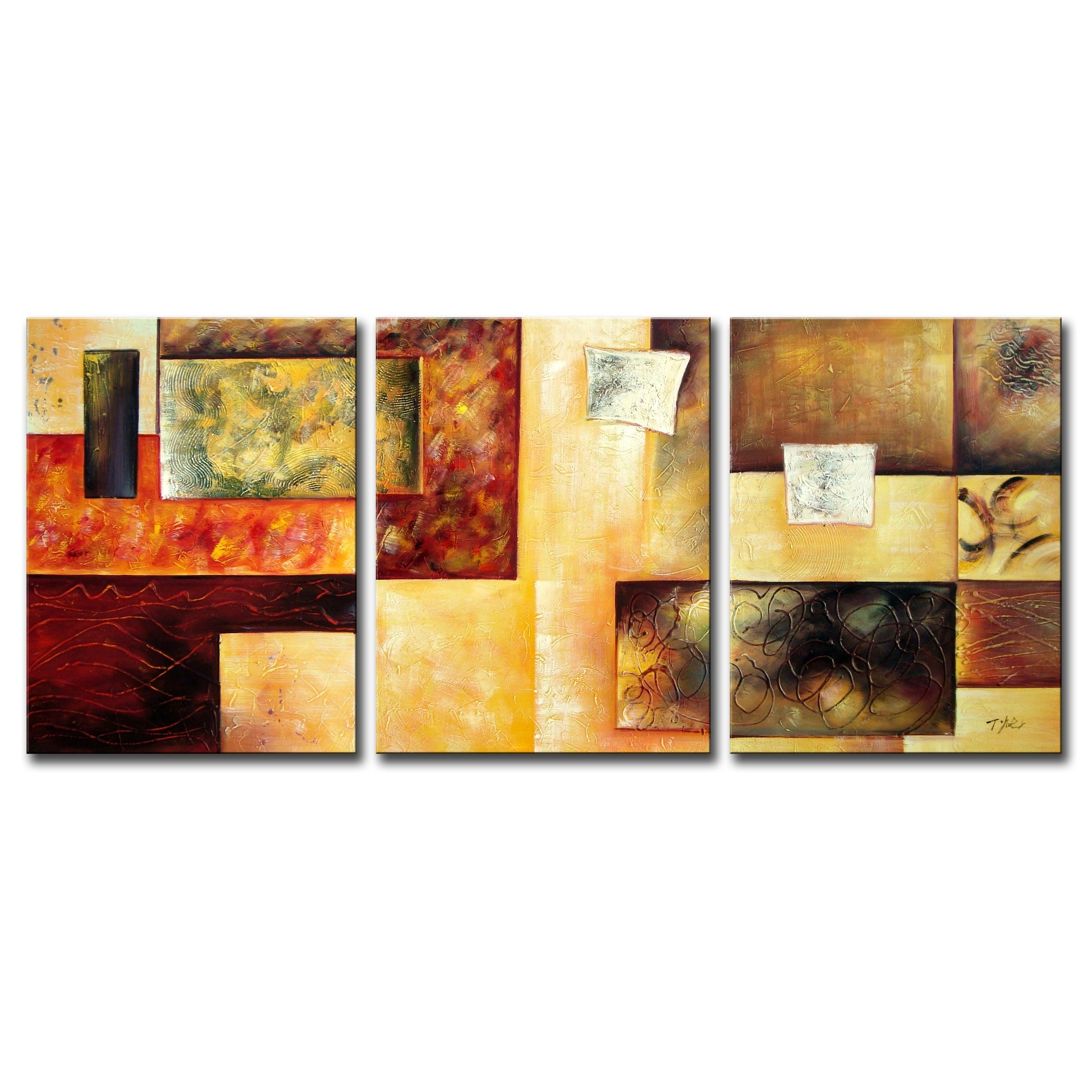 Shop \'Abstract Multicolor\' Hand-painted 3-piece Oil Painting Set ...
