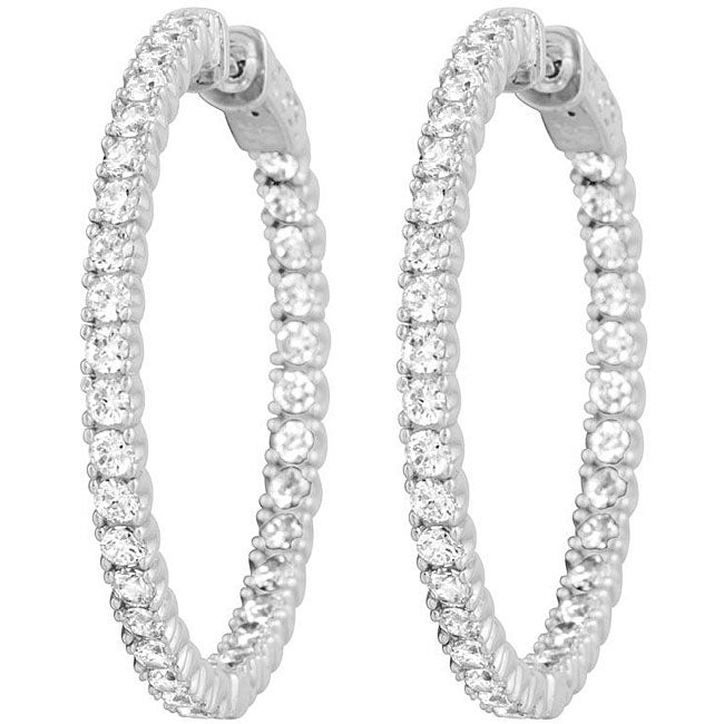 Platinum Plated Sterling Silver Cubic Zirconia Inside Out Hoop Earrings Free Shipping Today 4762762
