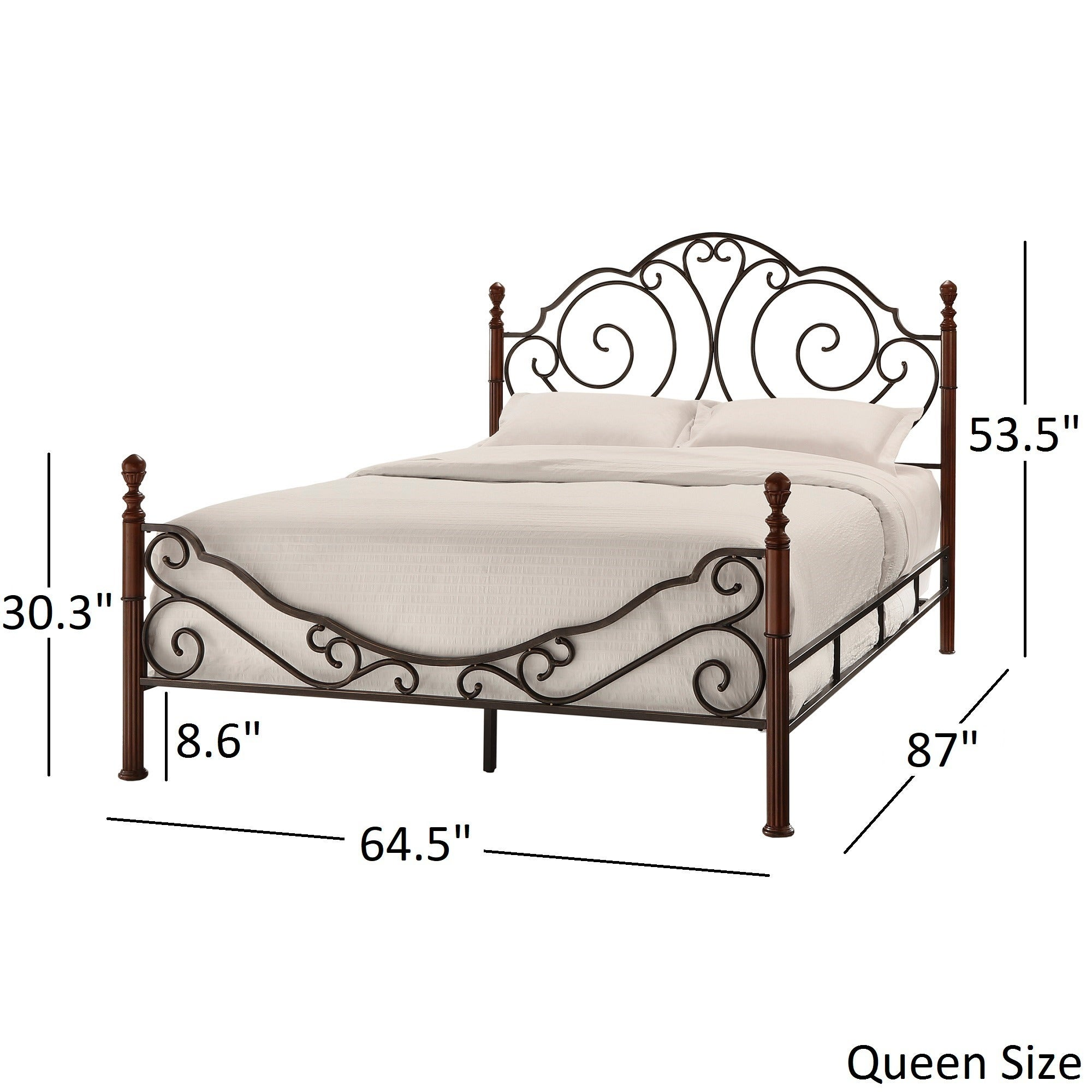 Shop LeAnn Graceful Scroll Bronze Iron Bed by iNSPIRE Q Classic ...