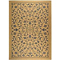 Safavieh Resorts Scrollwork Natural/ Blue Indoor/ Outdoor Rug (6'7 x 9'6)