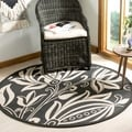 Safavieh Andros Black/ Sand Indoor/ Outdoor Rug (5'3 Round)